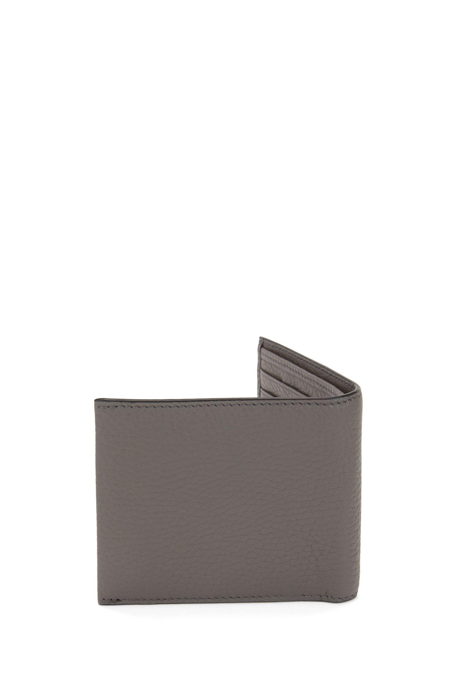 Italian-leather billfold wallet with large grain, Grey