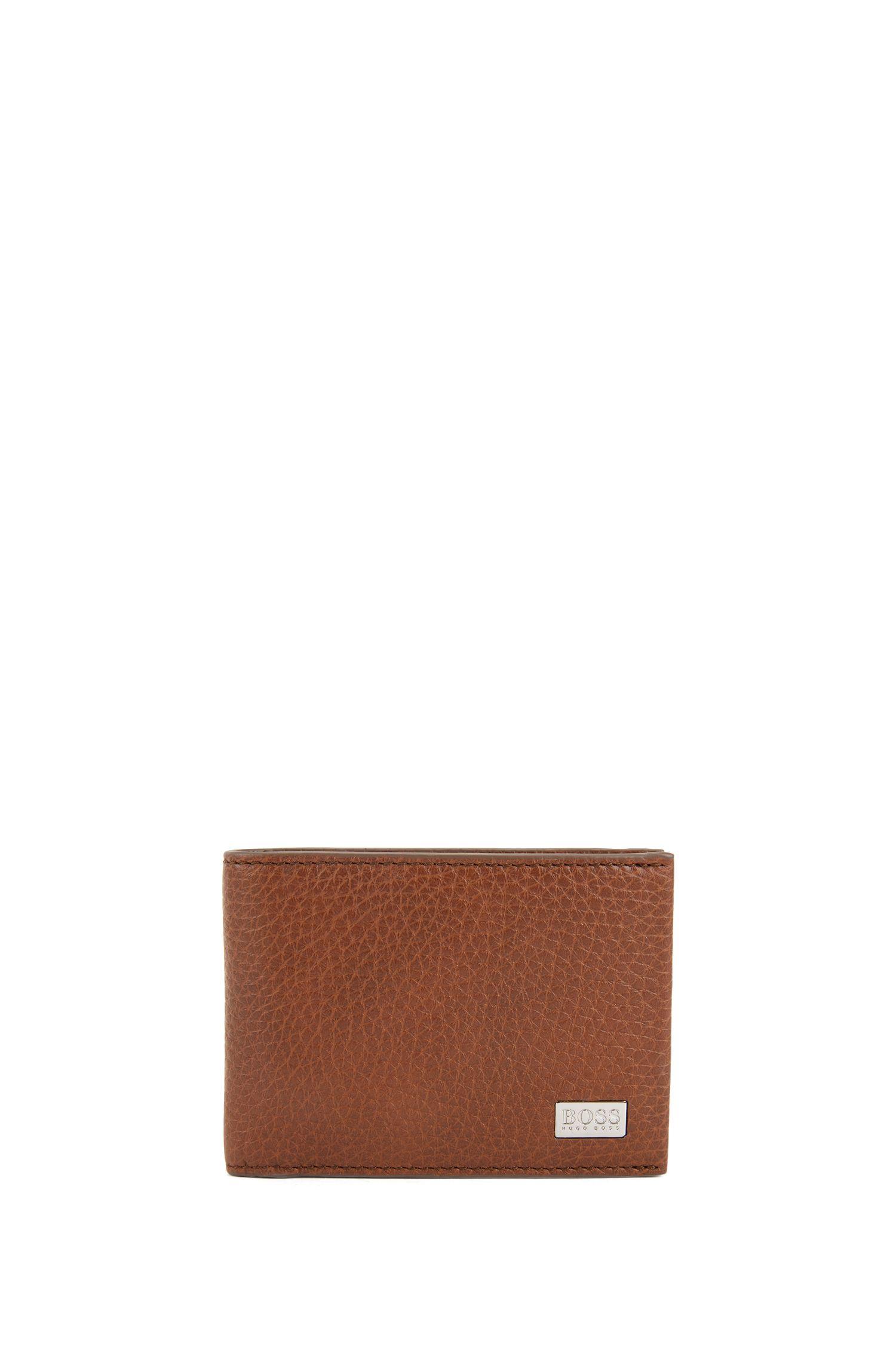 Billfold wallet in grained Italian leather, Light Brown