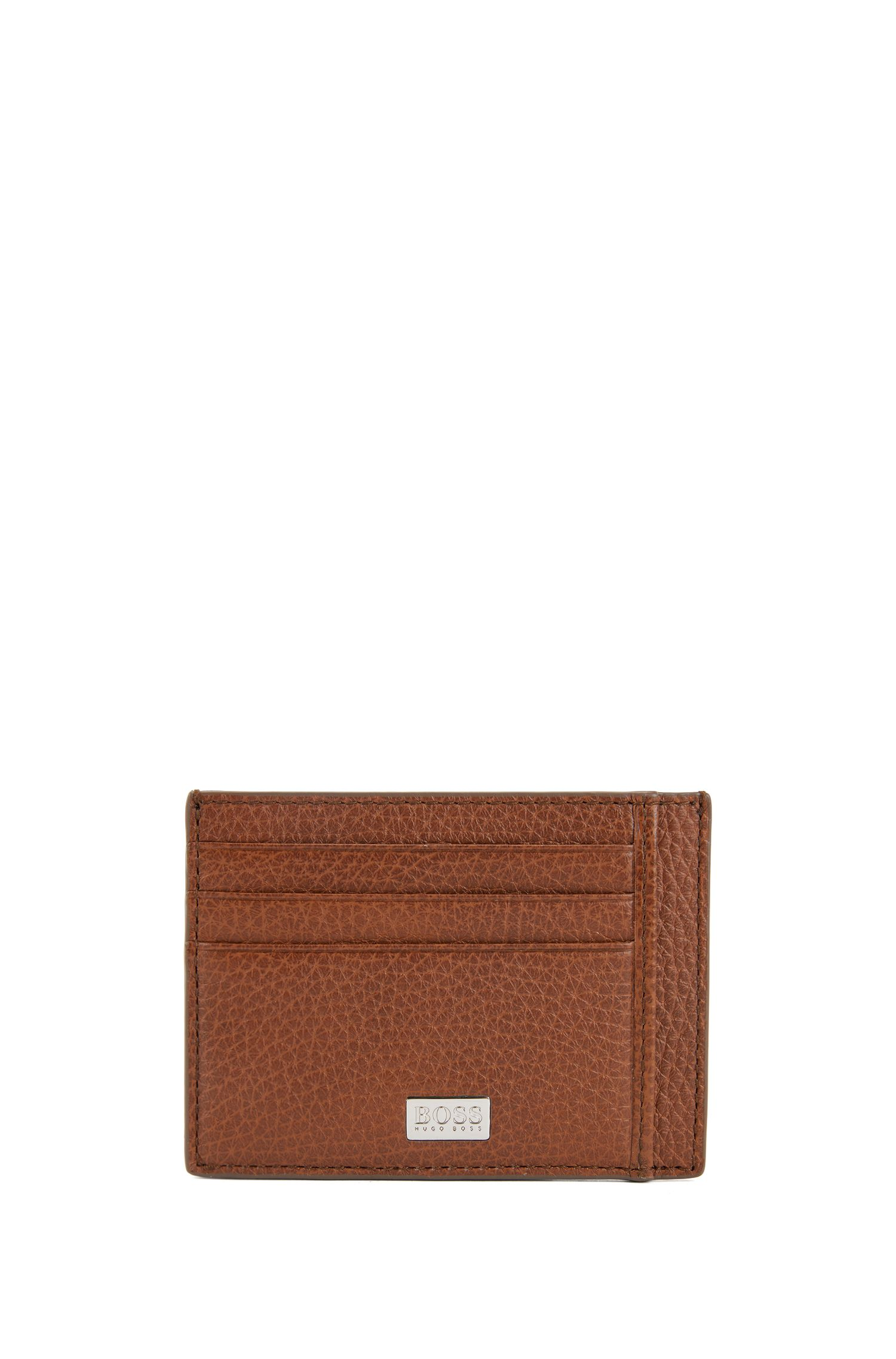 Six-slot card case in grained Italian leather, Light Brown