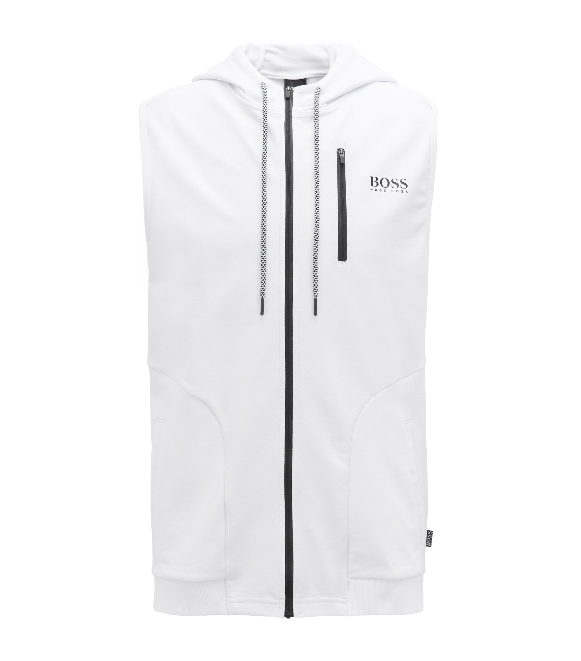 Hooded beach jacket in stretch French terry, White