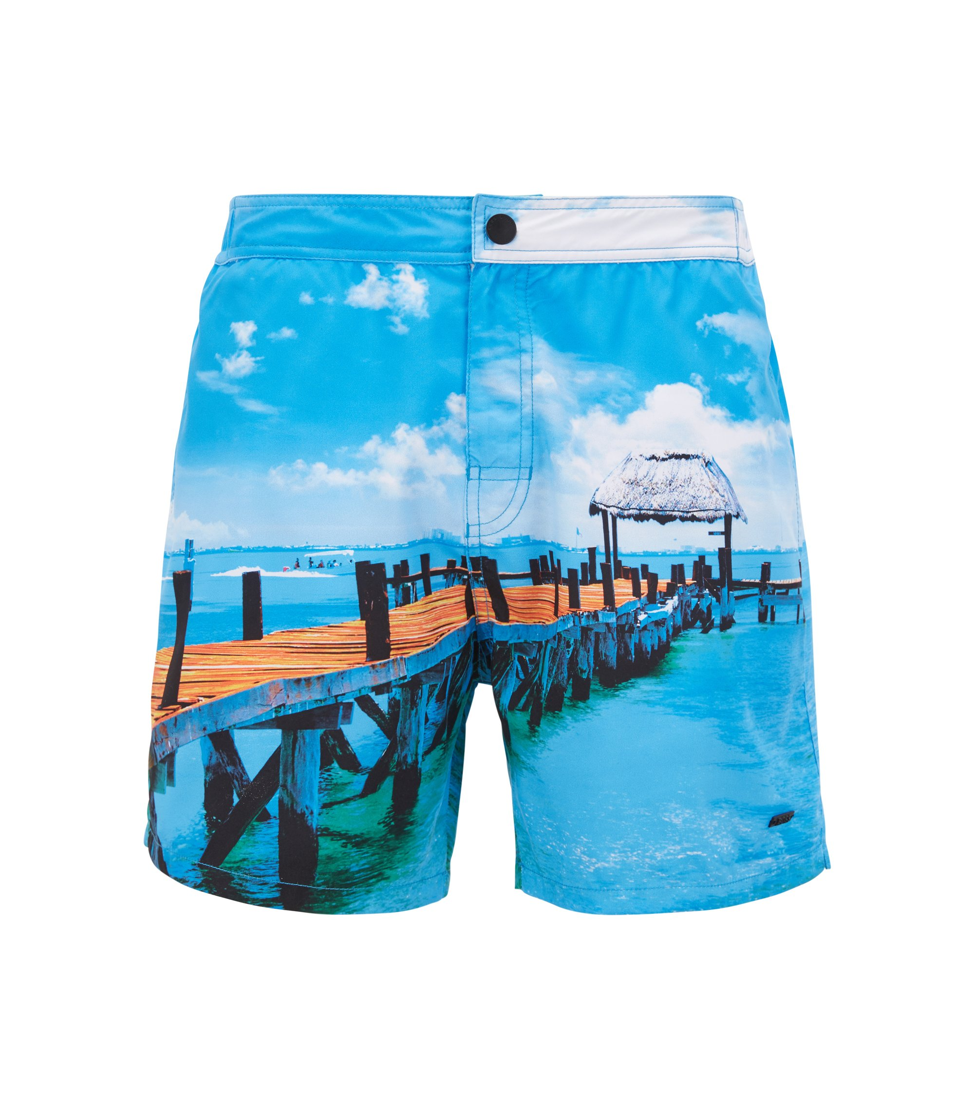 Mid-length swim shorts with photographic print, Open Blue