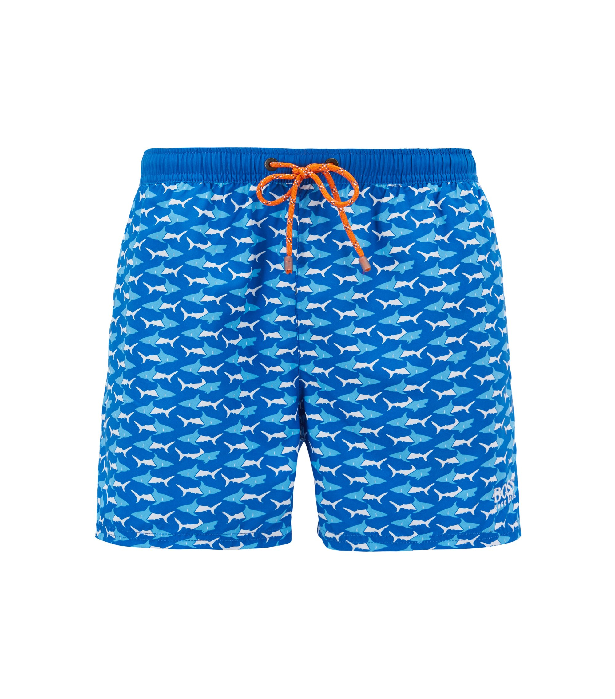 Shorter-length swim shorts with sea-life print, Blue
