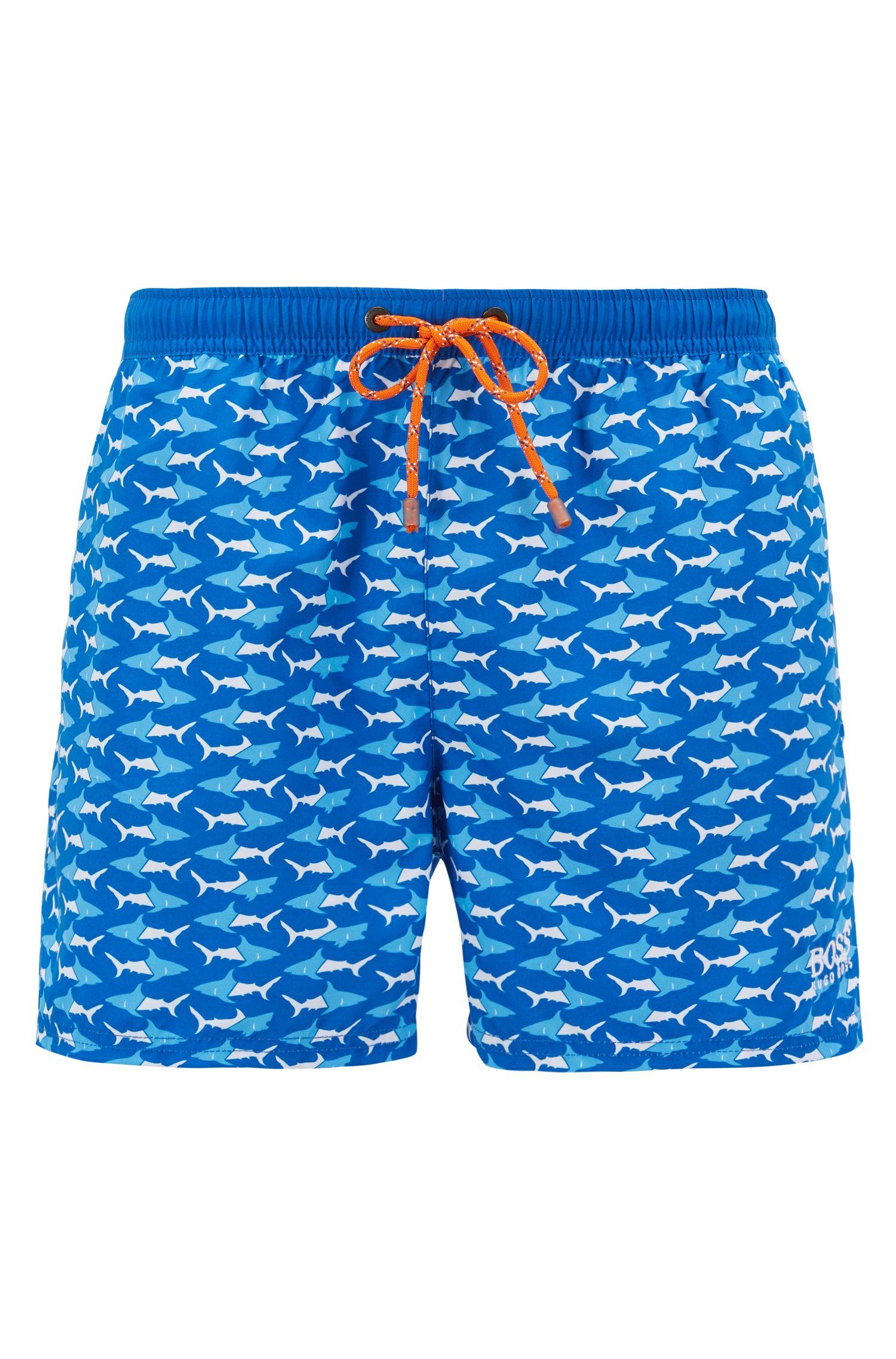 Shorter-length swim shorts with sea-life print, Blue
