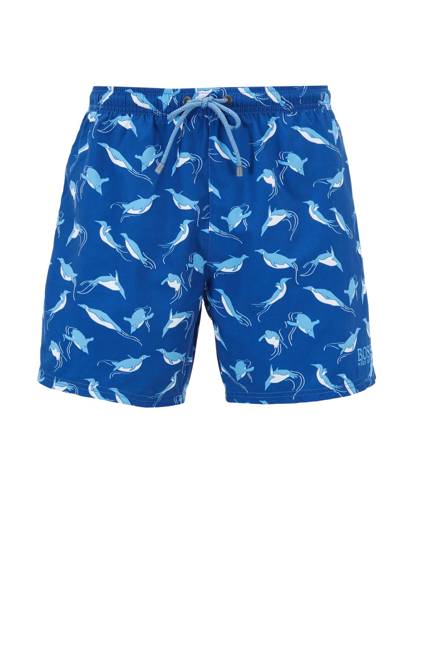 Shorter-length swim shorts with sea-life print, Open Blue