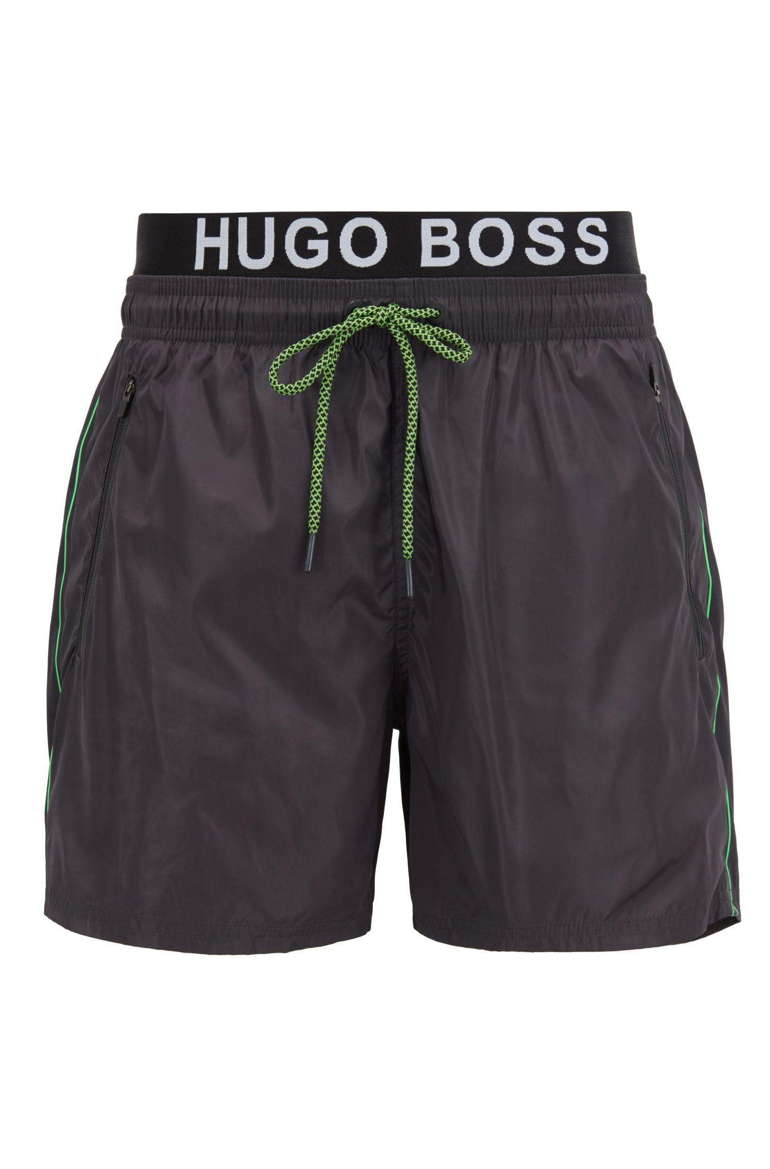 Lightweight swim shorts with double waistband, Charcoal