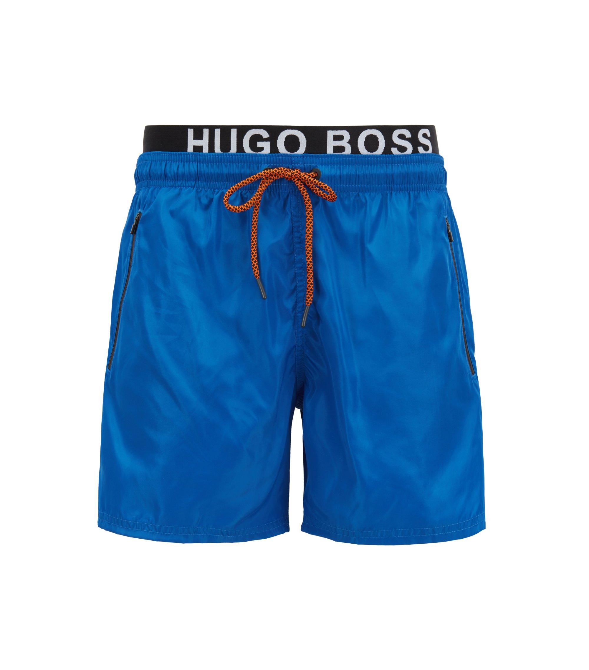 Lightweight swim shorts with double waistband, Blue