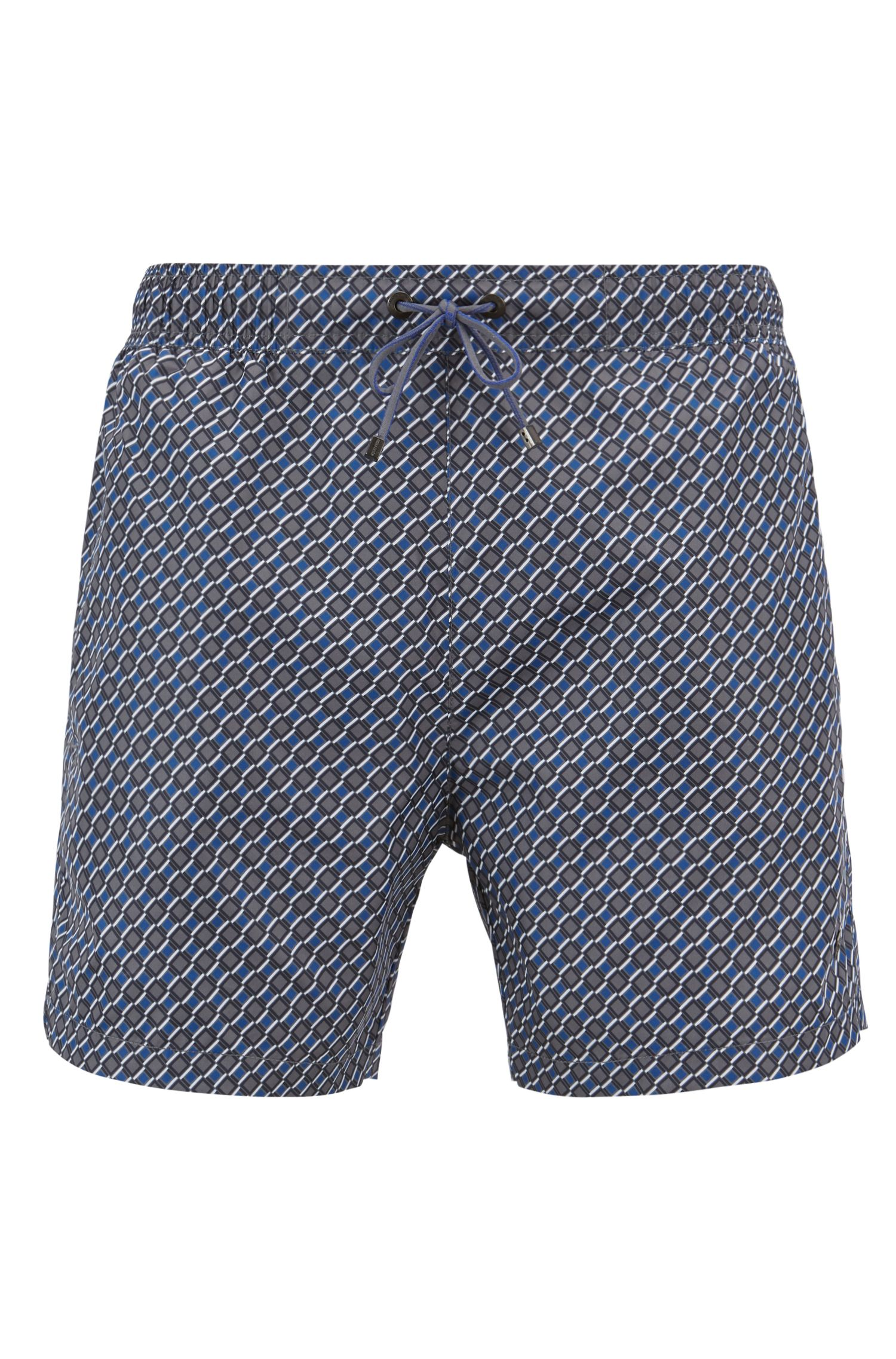Lightweight patterned swim shorts with elastic waistband, Open Blue