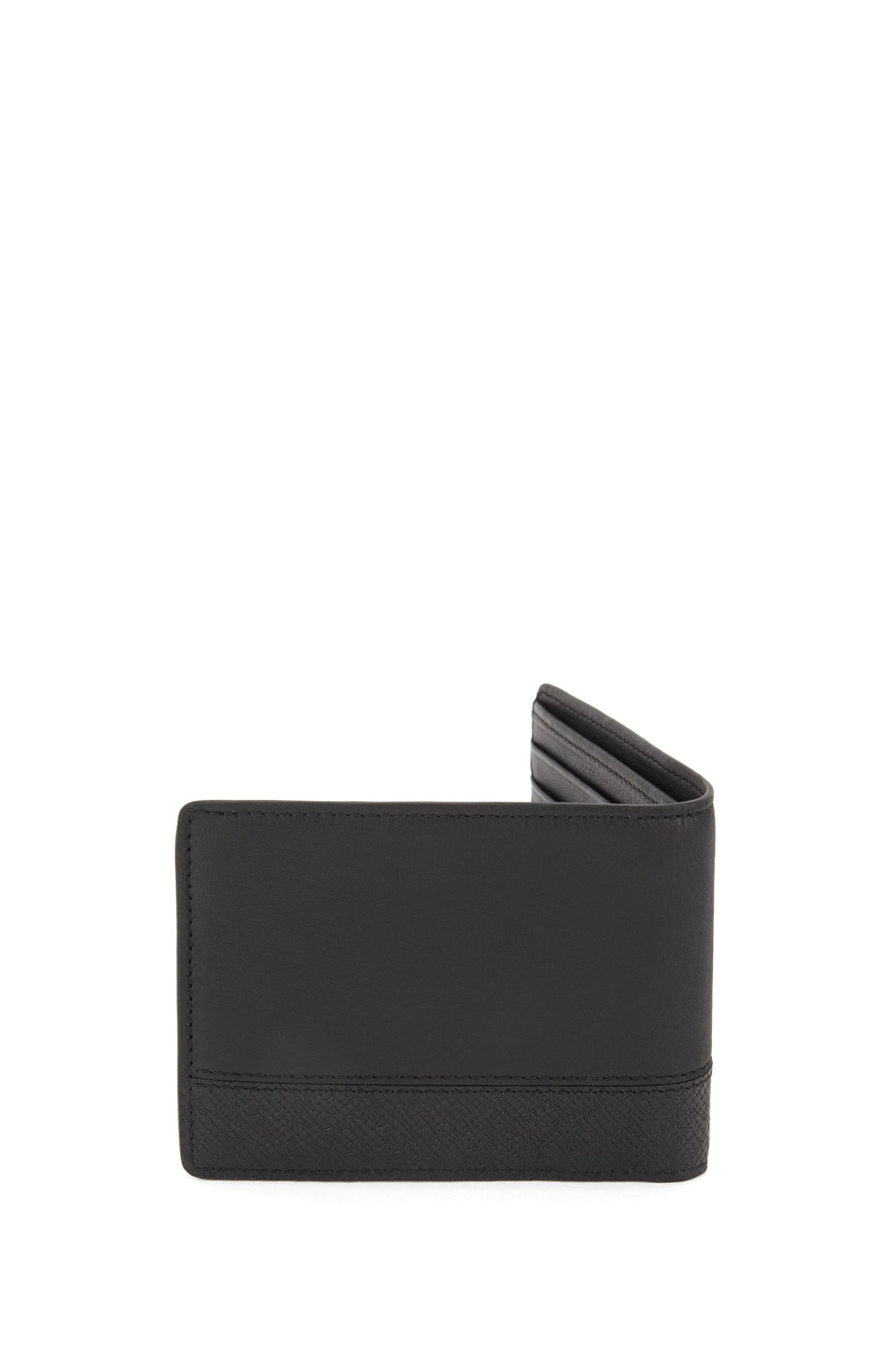 Leather billfold wallet with printed detail, Black