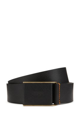 Smooth belt in Italian leather with plaque-covered closure BOSS 5khWwl