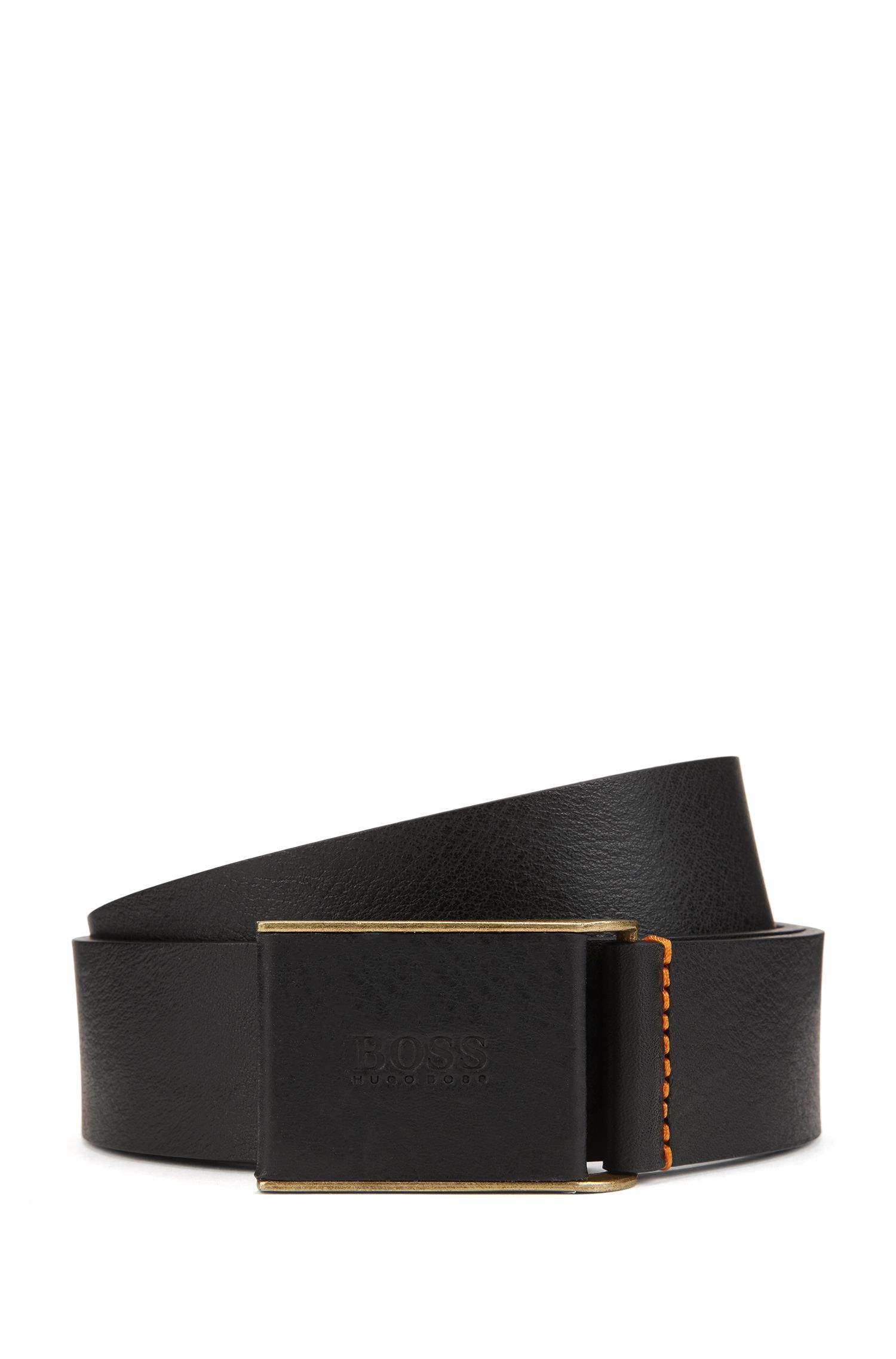 Smooth-leather belt with leather-covered plaque buckle, Black