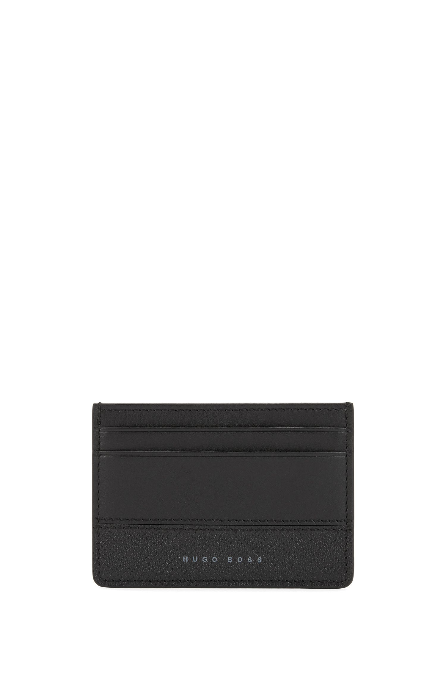 Card holder in matte and printed leather, Black