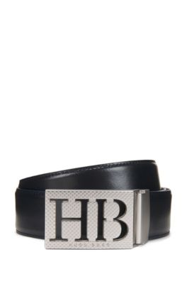 Reversible Leather Belt With Statement Plaque Closure by Boss