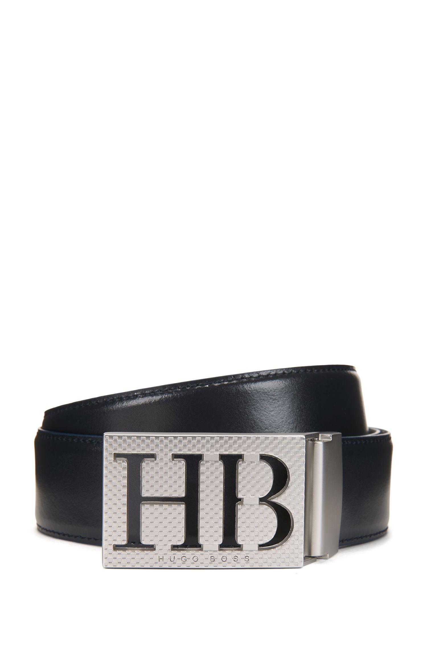 Reversible leather belt with statement plaque closure, Dark Blue