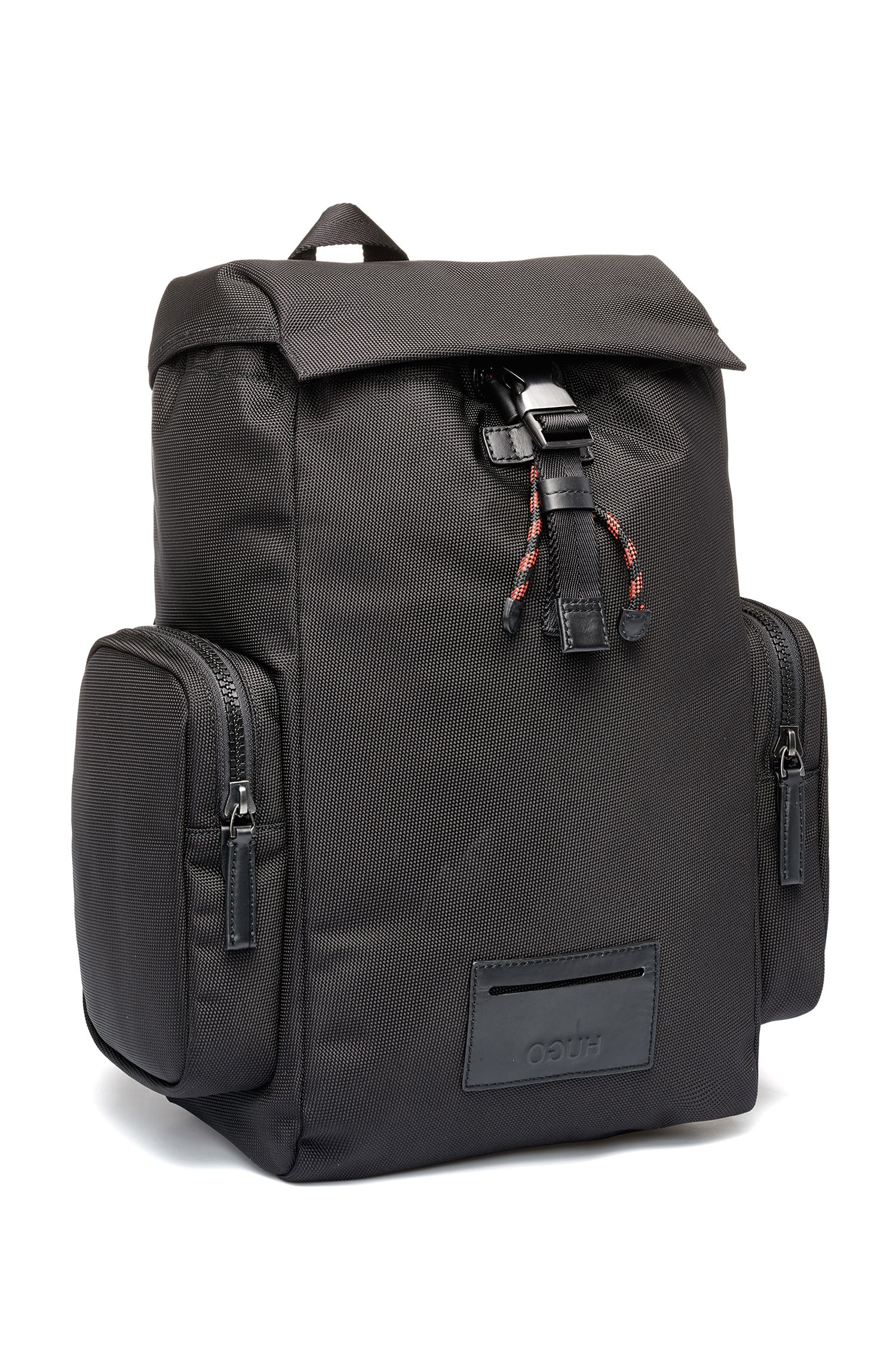 Backpack in nylon with leather trims and reverse logo