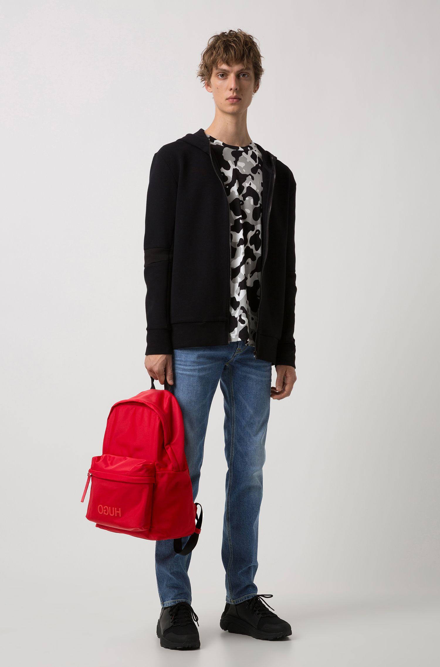 Reversed-logo backpack in nylon gabardine, Red