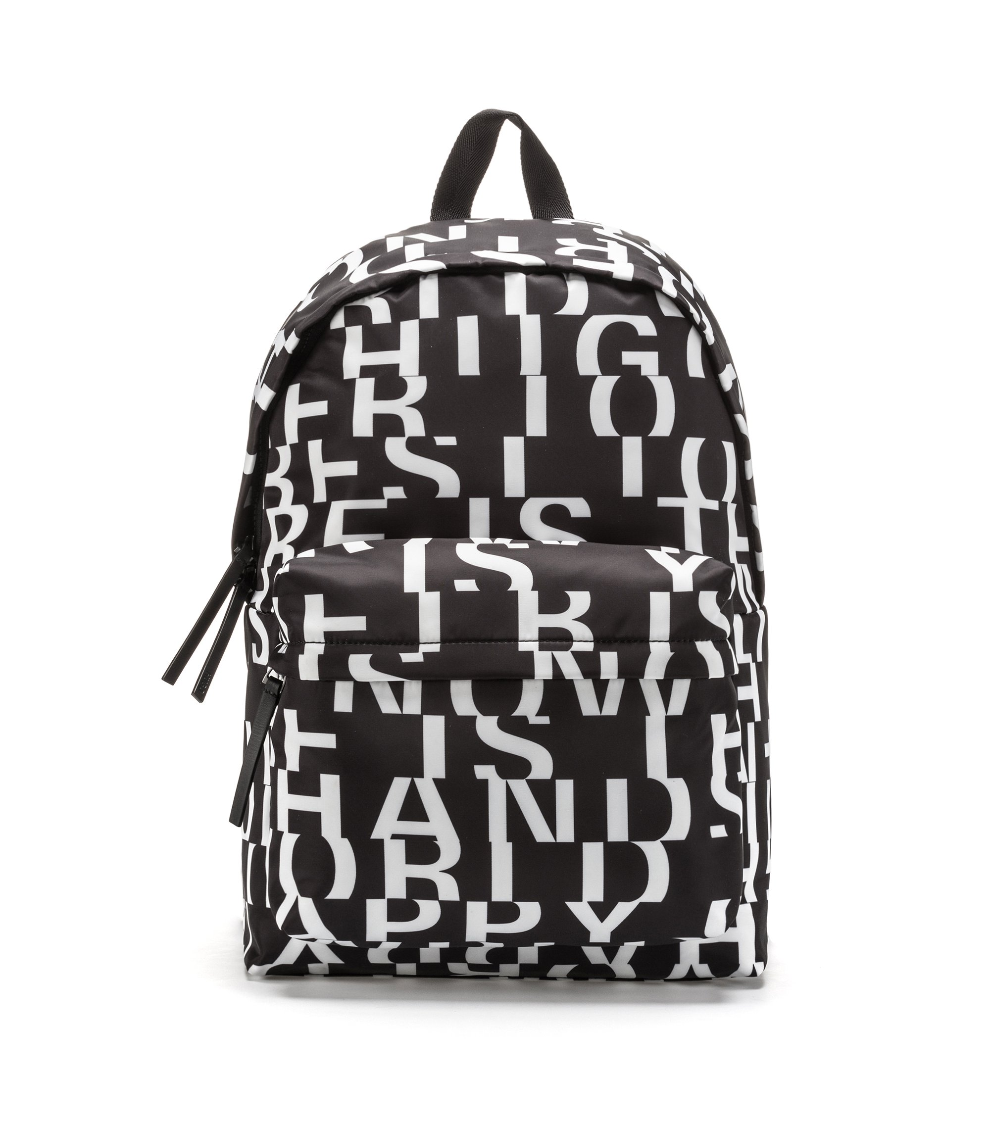 Nylon backpack with abstract slogan motif, Black