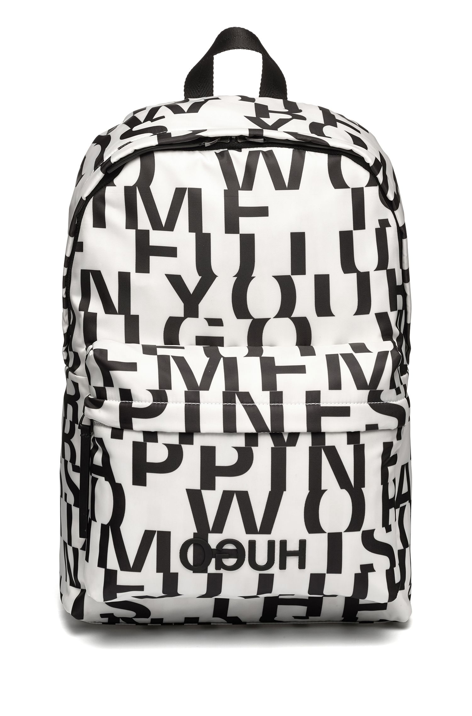 Nylon backpack with abstract slogan motif