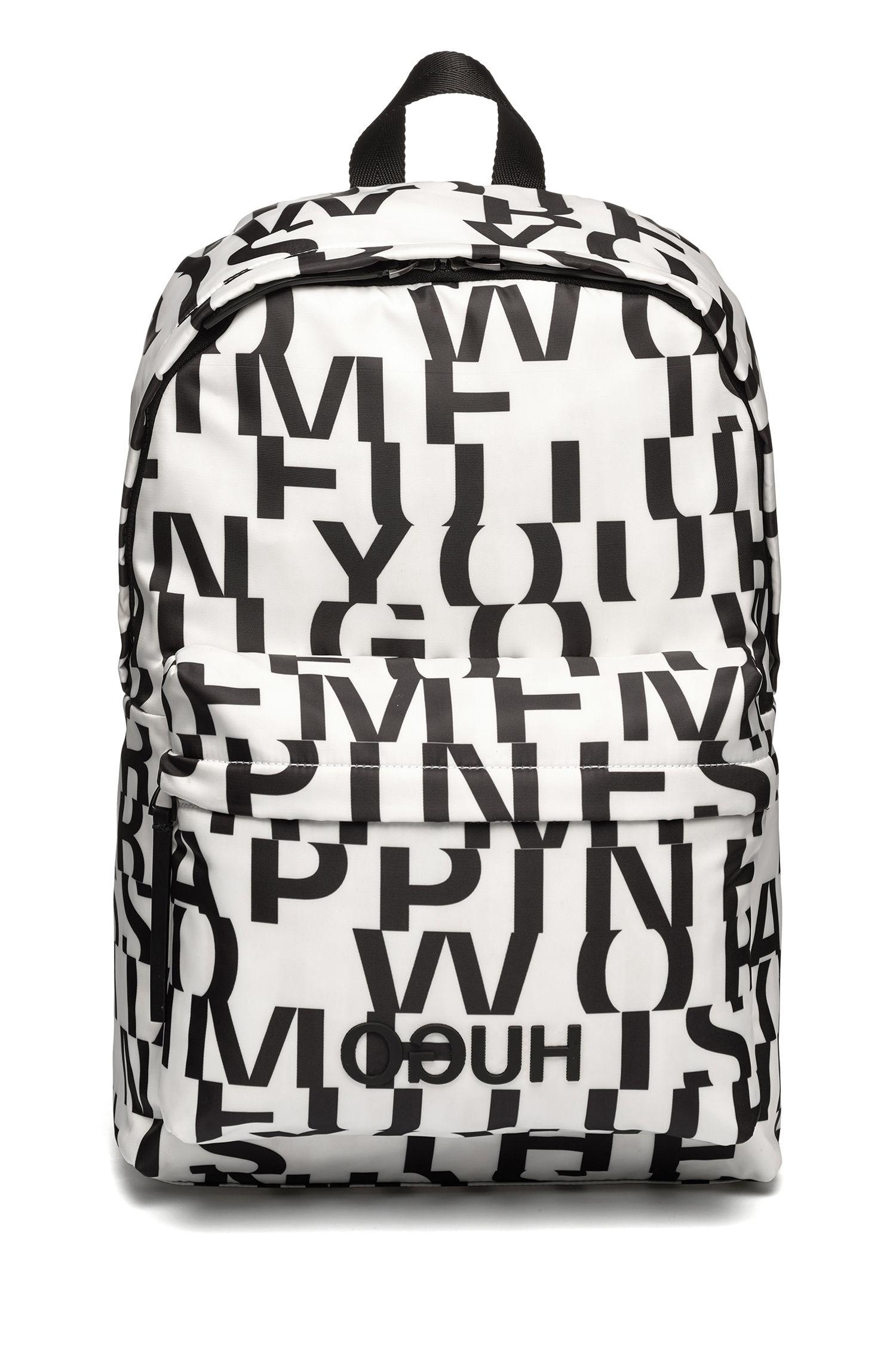 Nylon backpack with abstract slogan motif, Natural