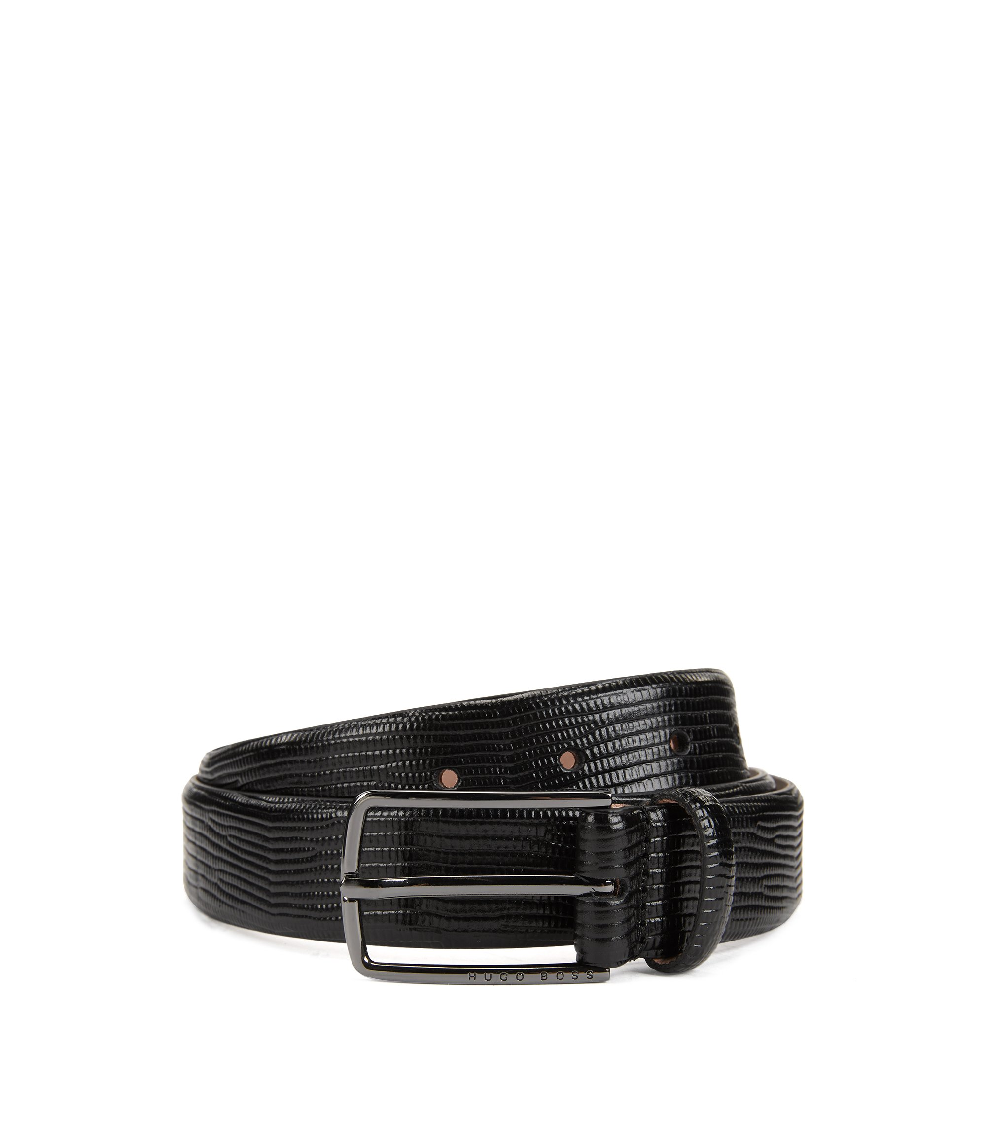 Calf-leather belt with embossed lizard print, Black