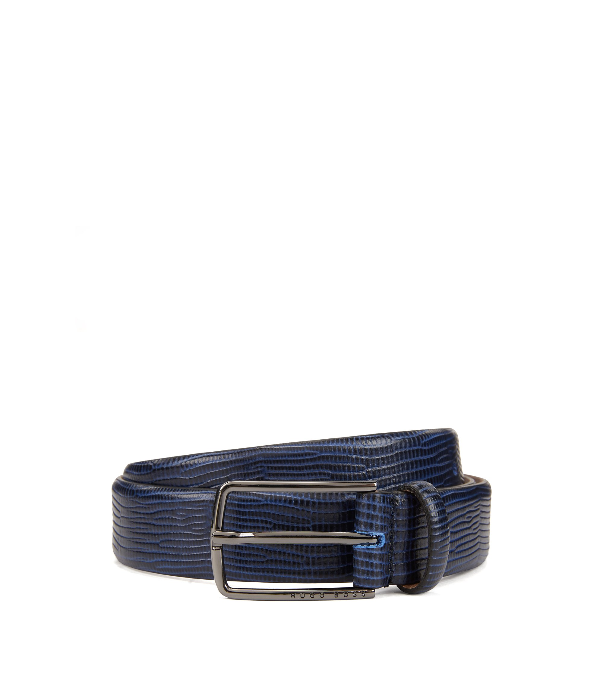Calf-leather belt with embossed lizard print, Dark Blue
