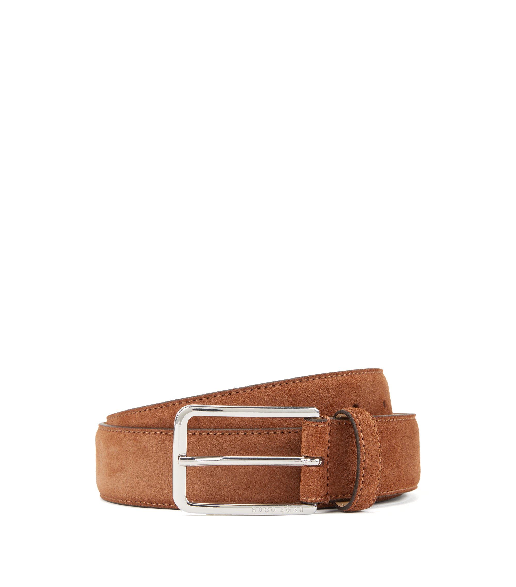 Suede belt with rounded hardware, Brown