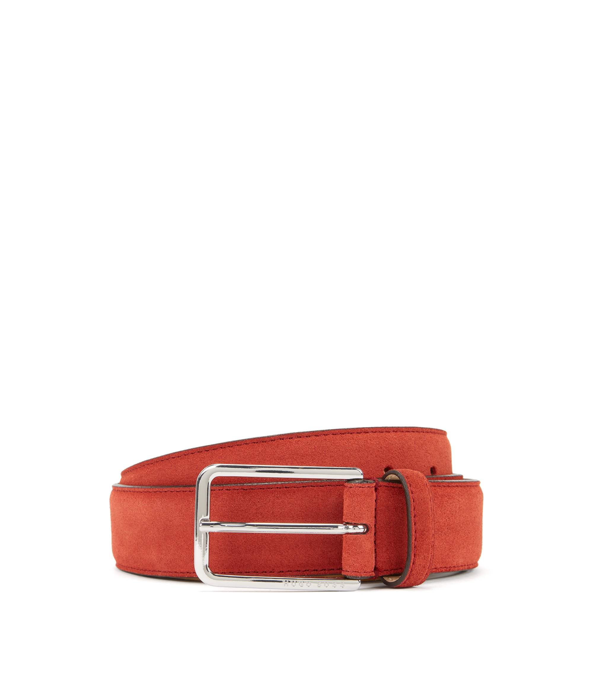 Suede belt with rounded hardware, Dark Red
