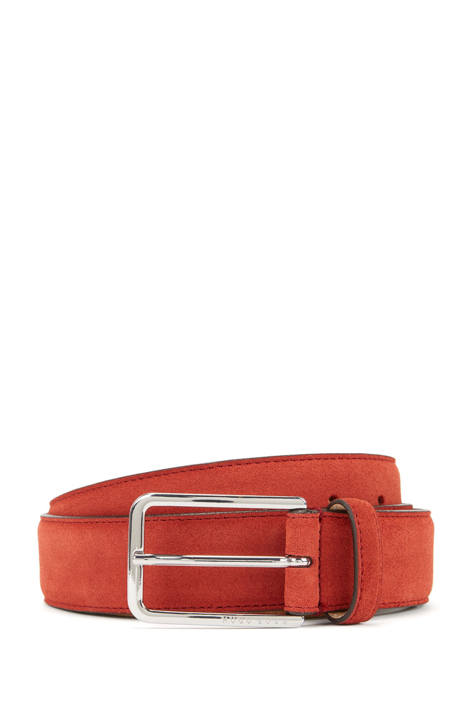 Suede belt with rounded hardware