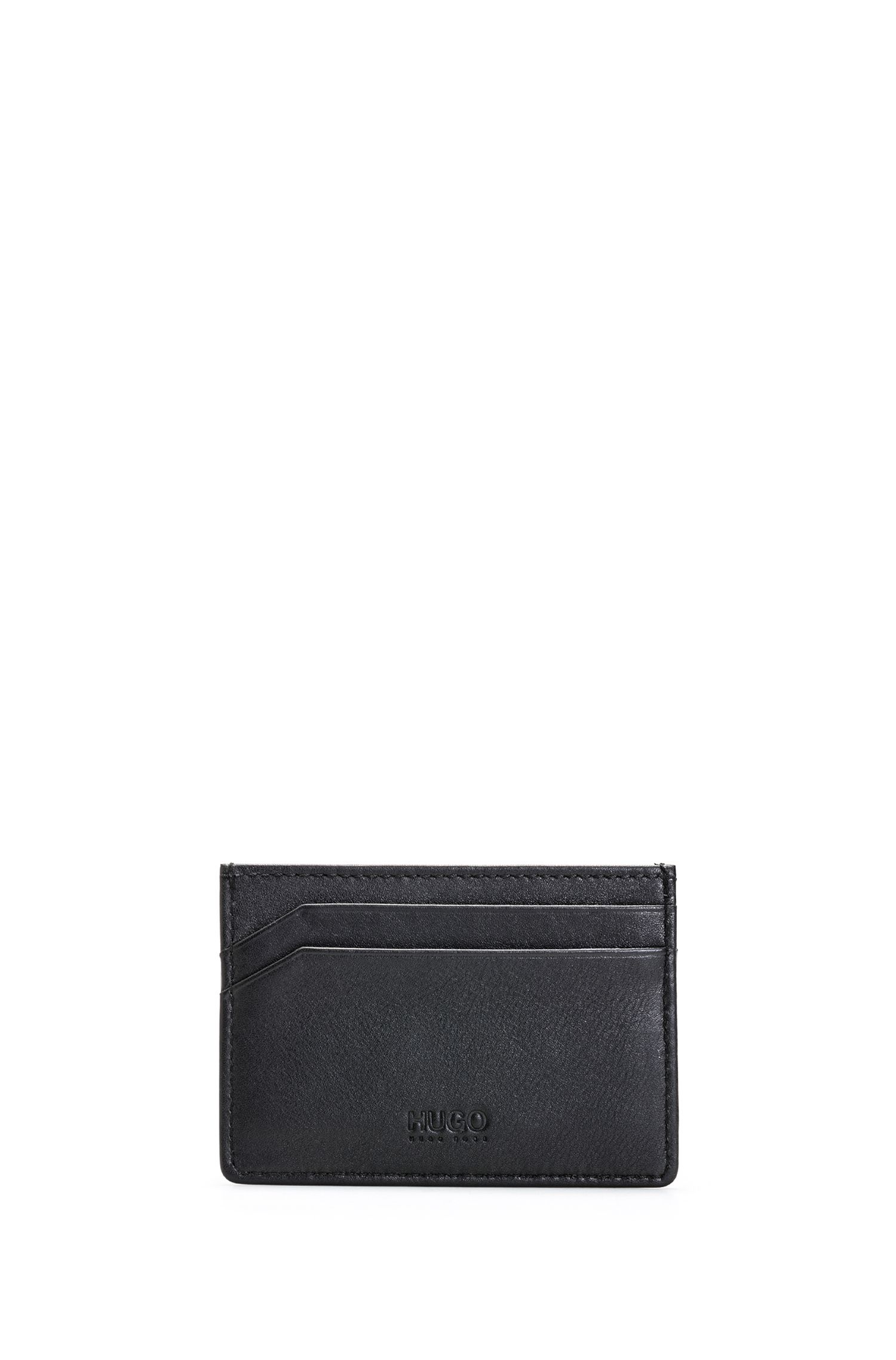 Leather card case with reverse logo