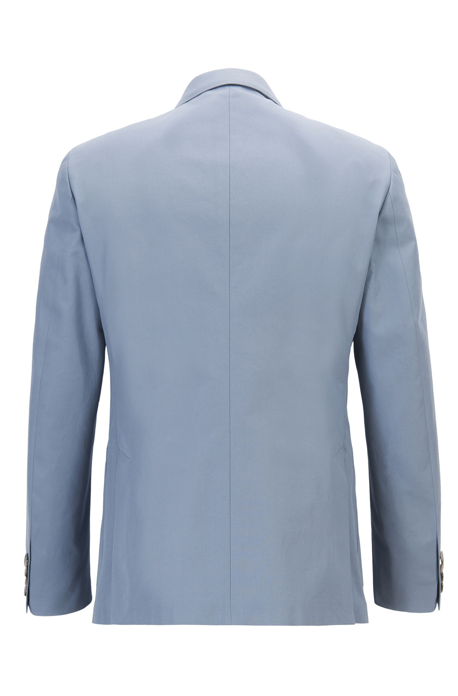 Pure Cotton Double-Breasted Jacket, Slim Fit | North, Open Grey