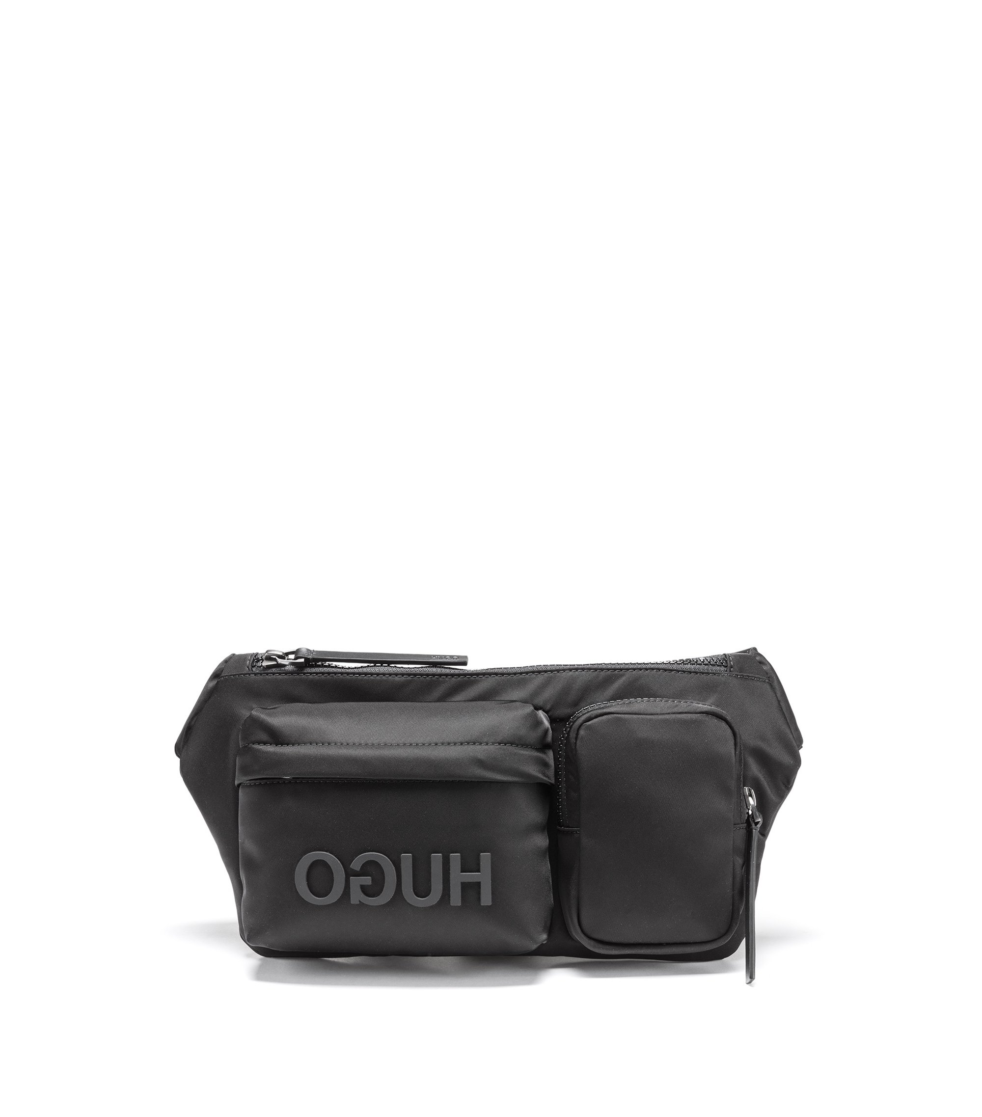 Reversed-logo belt bag in nylon gabardine, Black