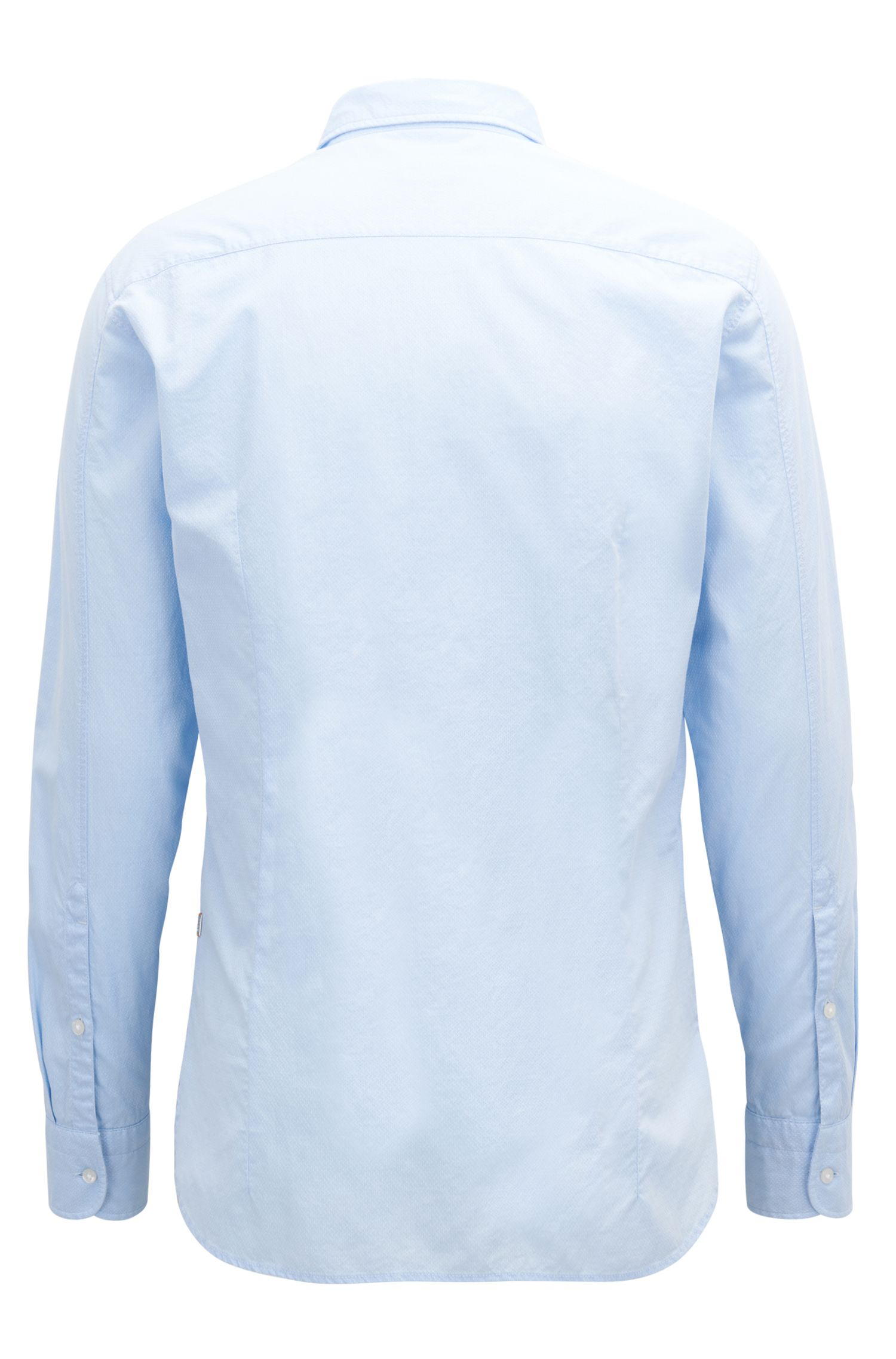 Slim-fit shirt in dobby cotton with tonal trims, Open Blue