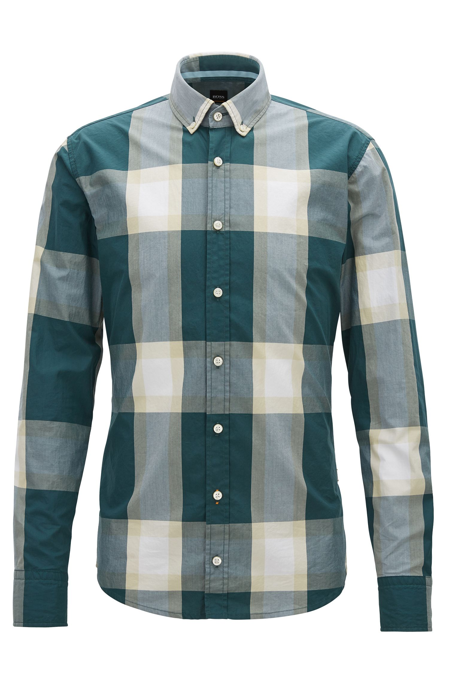 Slim-fit shirt in cotton poplin with oversized check pattern, Dark Green