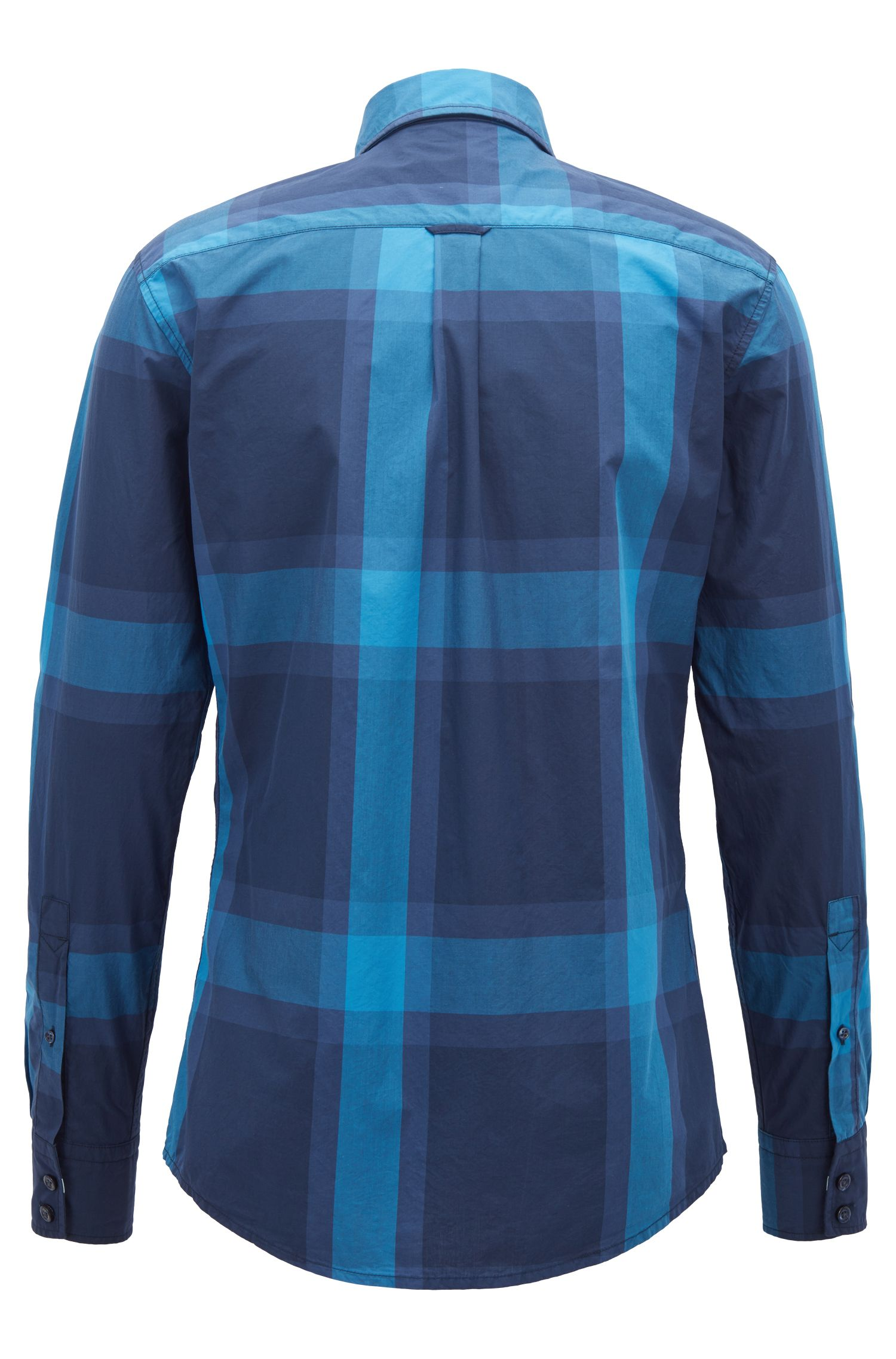Slim-fit shirt in cotton poplin with oversized check pattern, Dark Blue
