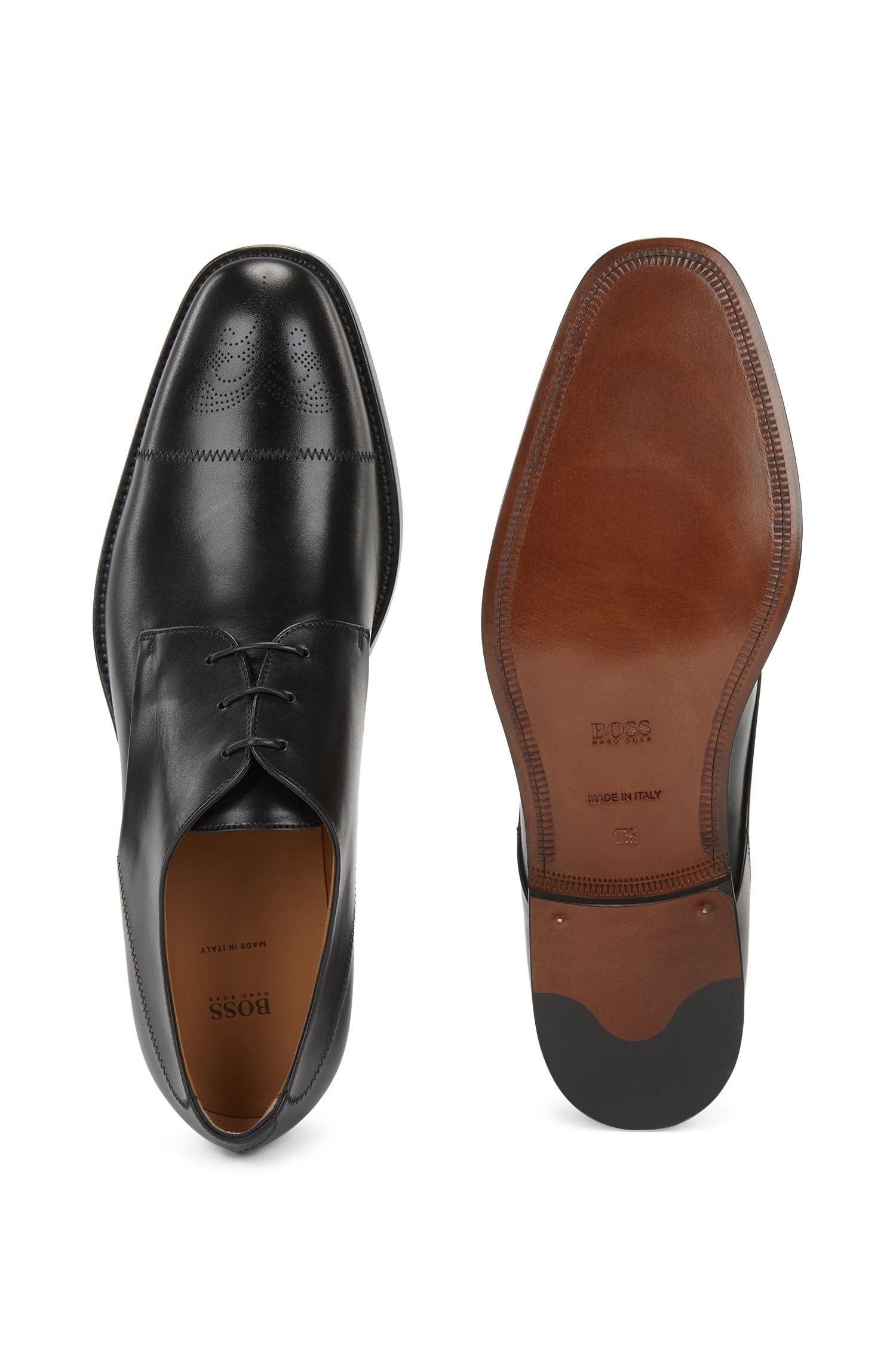 Italian-made Derby shoes in burnished calf leather, Black