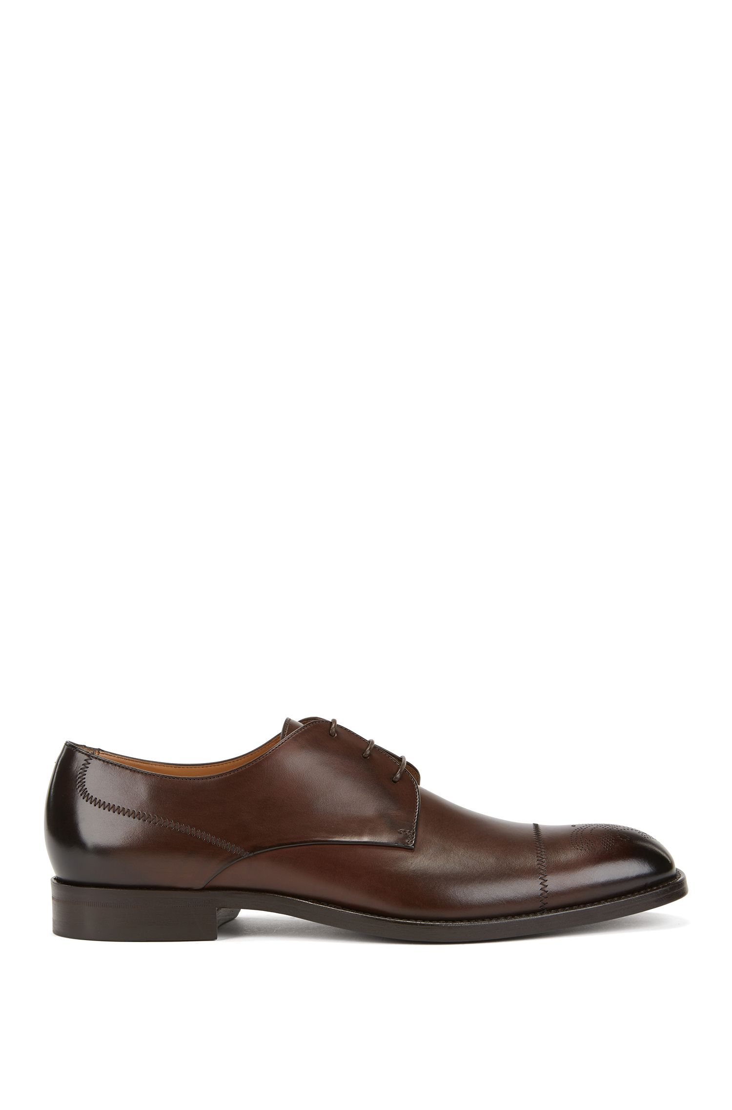 Italian-made Derby shoes in burnished calf leather, Dark Brown