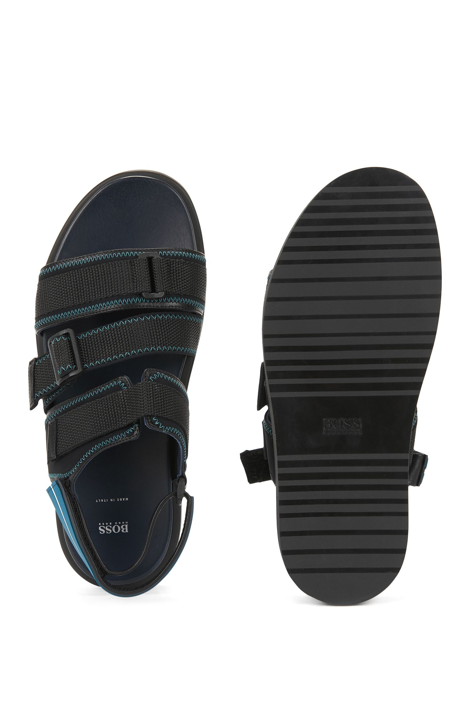 Italian-made calf-leather sandals with webbing detail