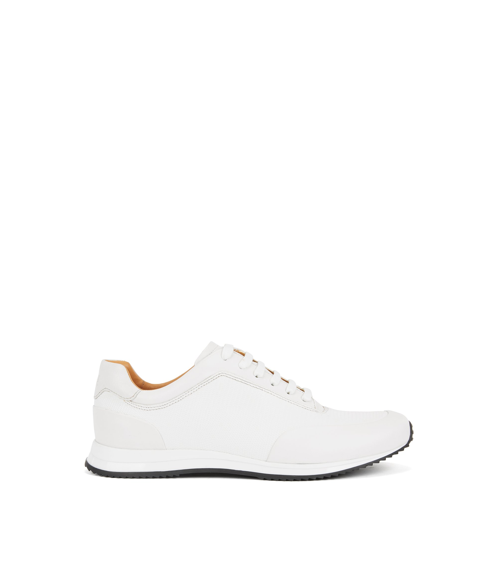 Lace-up sneakers in printed calf leather, White
