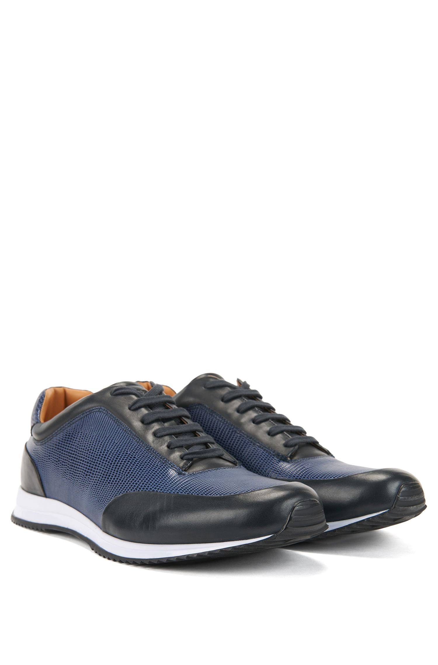Lace-up sneakers in printed calf leather, Dark Blue