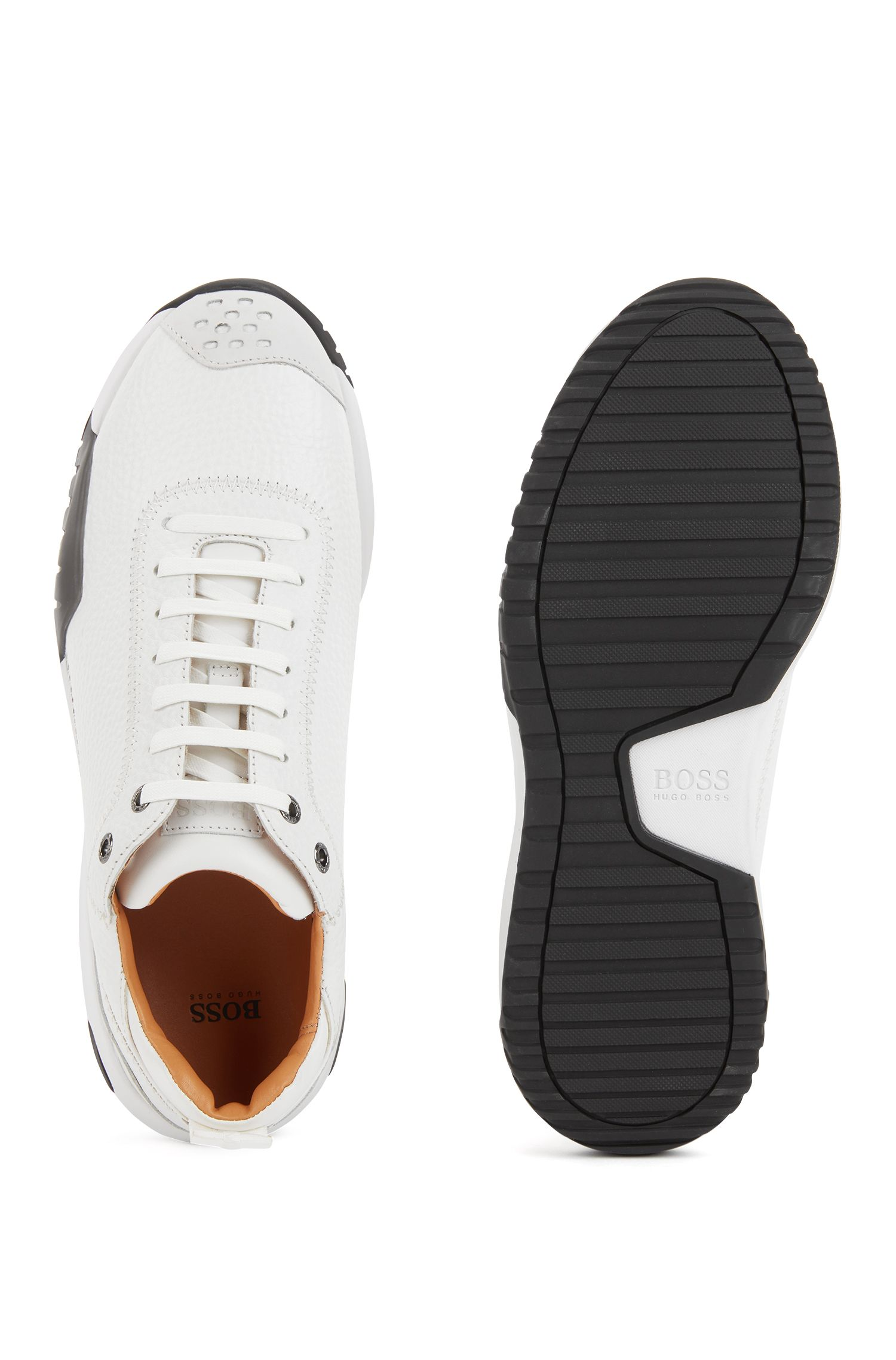 Calf-leather sneakers with Strobel construction, White