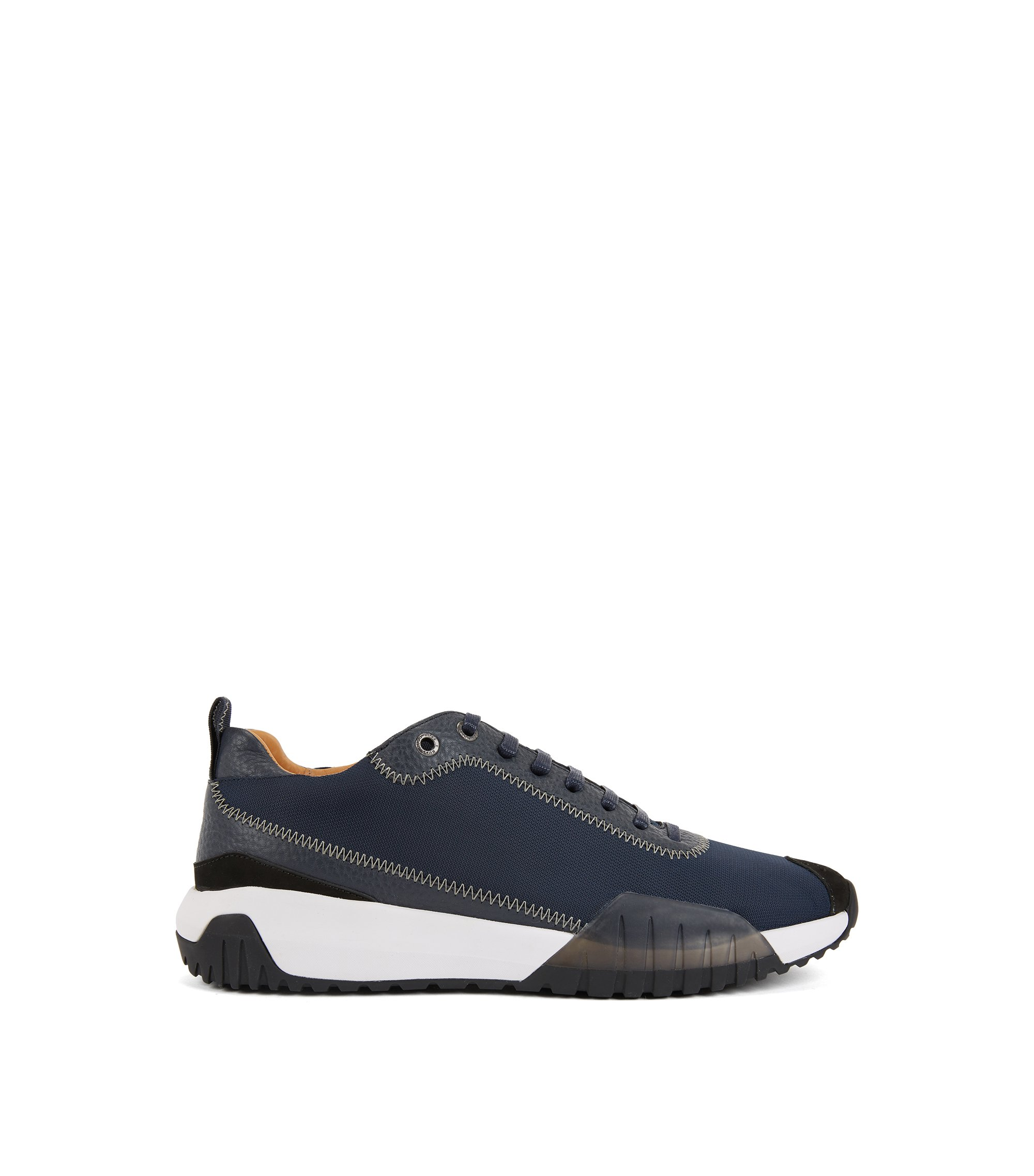 Low-top sneakers in nylon with leather details, Dark Blue