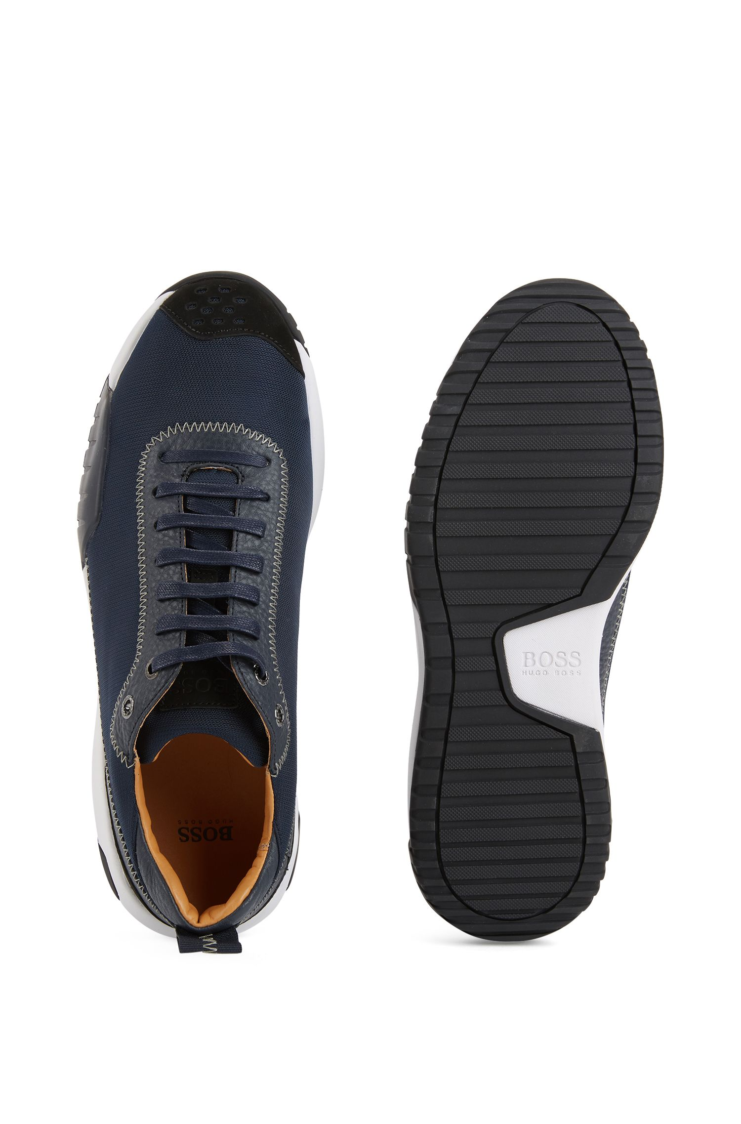 Low-top sneakers in nylon with leather details