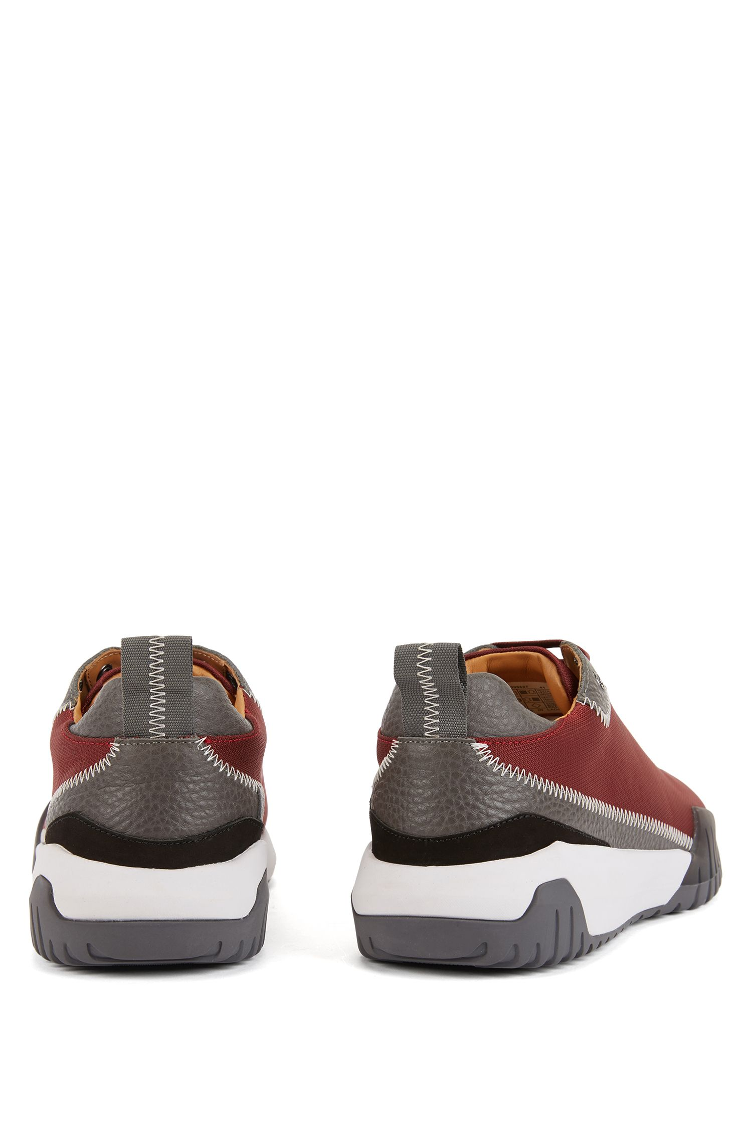 Low-top sneakers in nylon with leather details, Dark Red