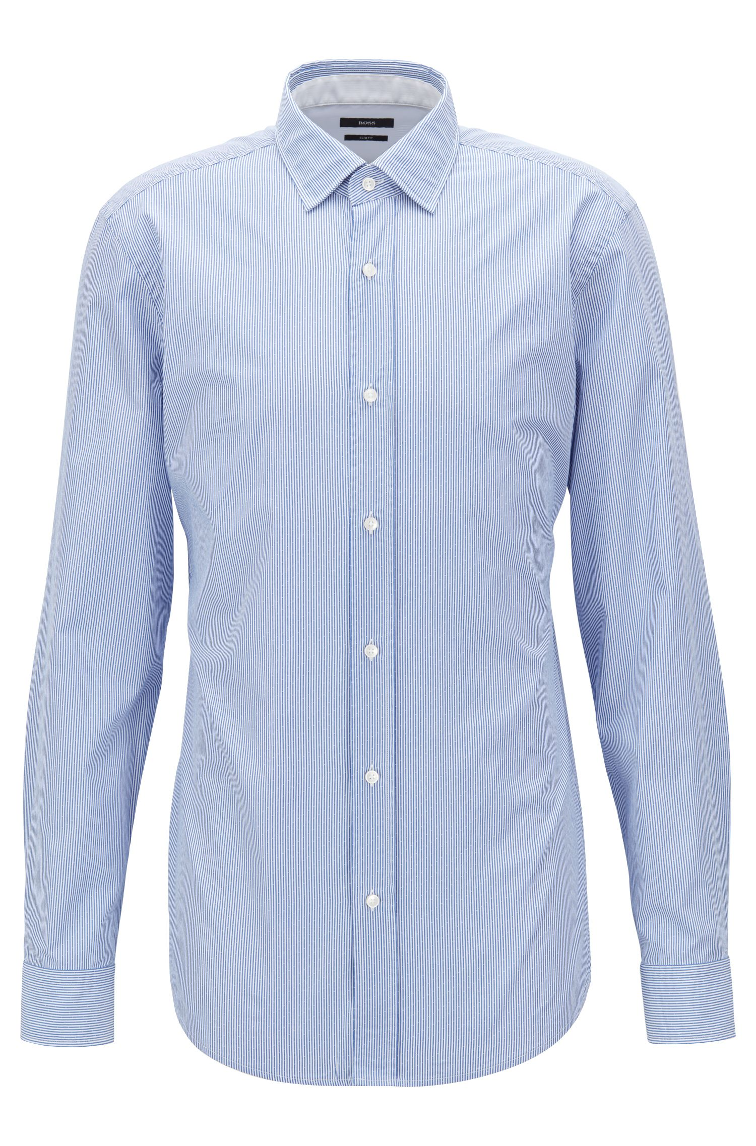 Slim-fit shirt in striped dobby cotton poplin, Open Blue