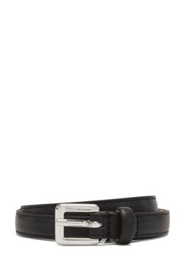 Slim belt in grained Italian leather, Black