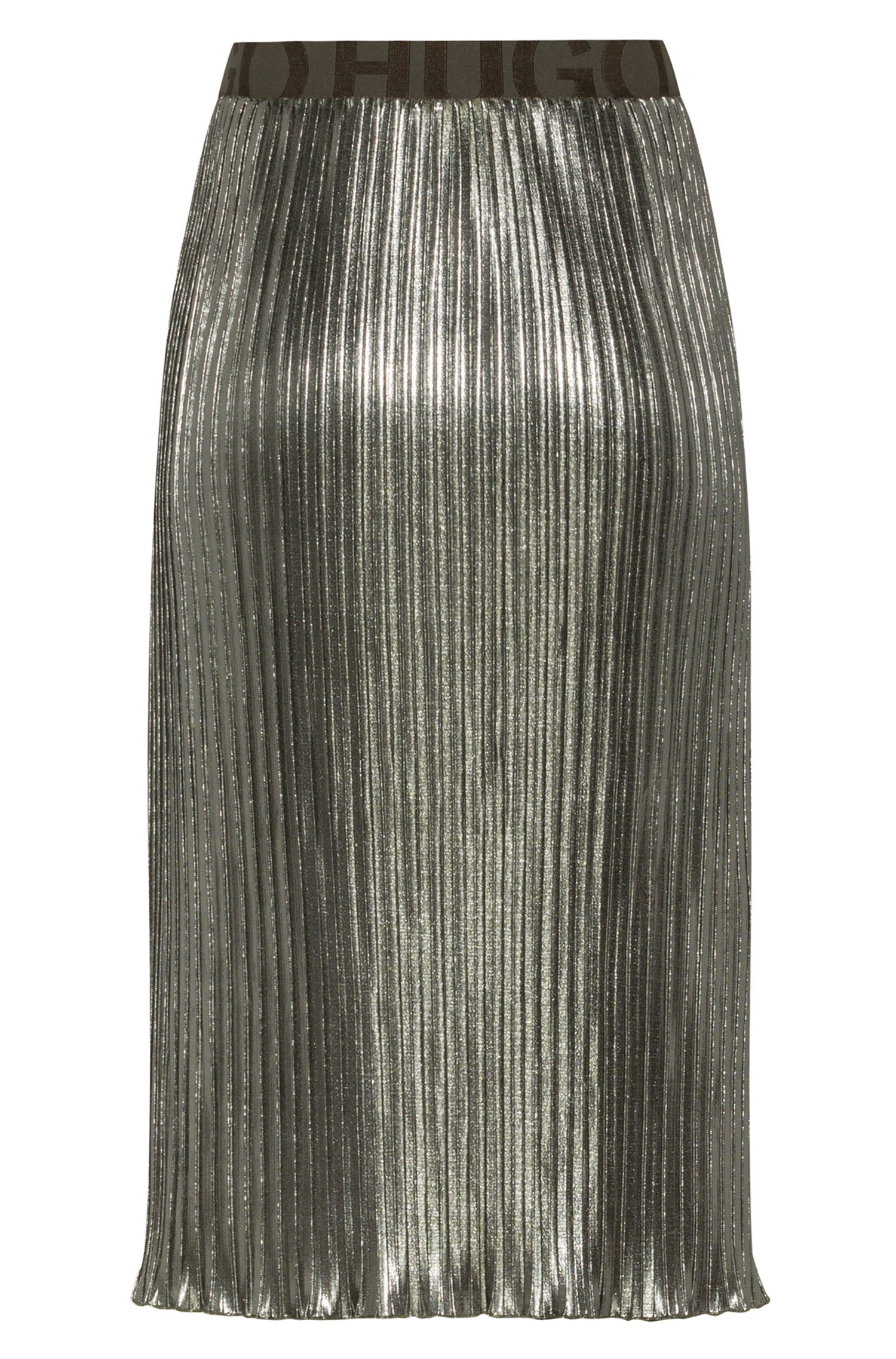 Plissé midi skirt in metallic jersey with logo waistband, Green