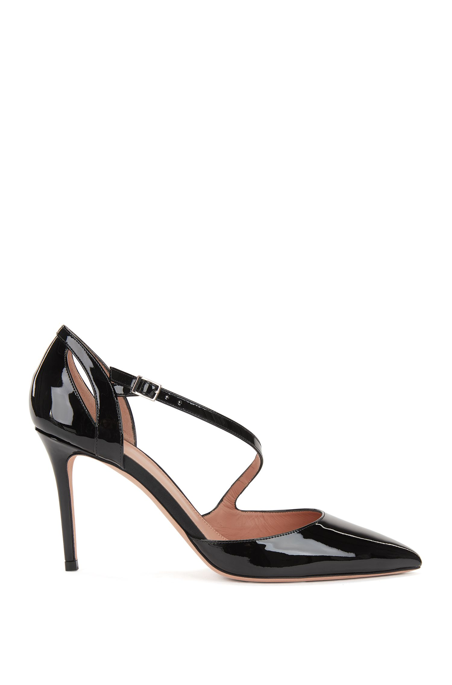 High-heeled patent-leather pumps with asymmetric strap BOSS