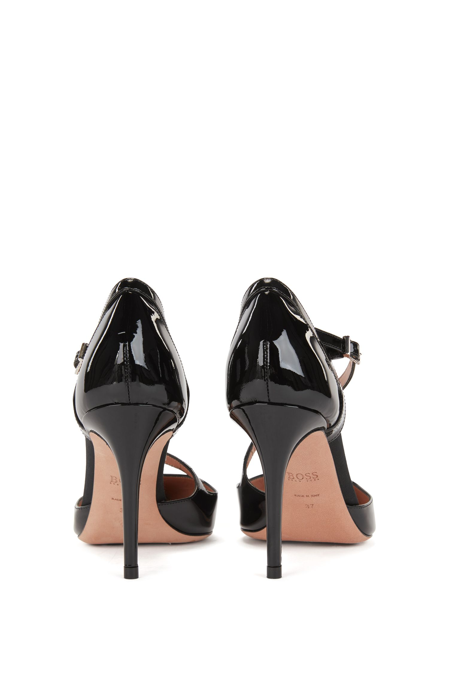 High-heeled patent-leather pumps with asymmetric strap, Black