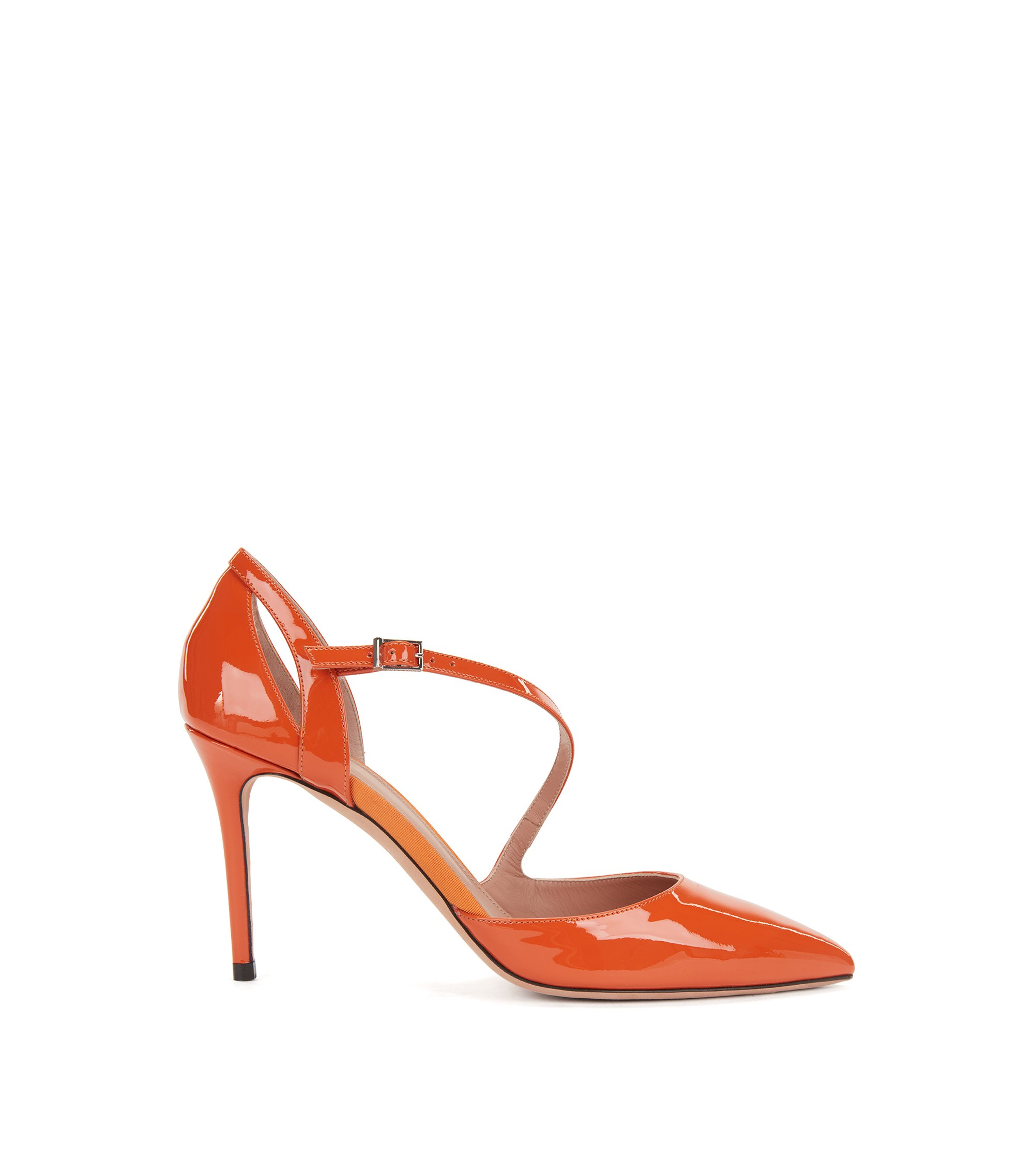 High-heeled patent-leather pumps with asymmetric strap, Orange