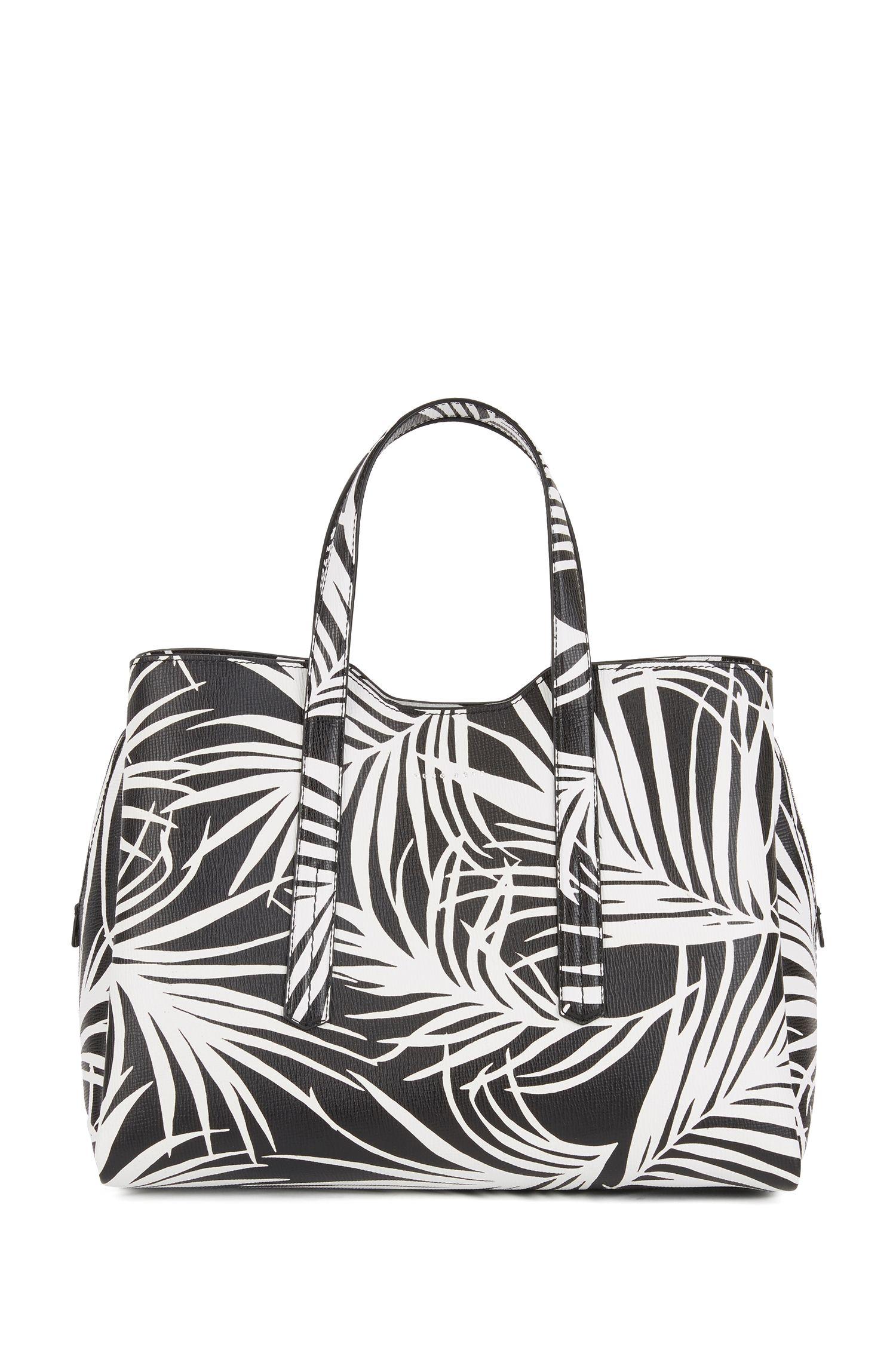Tote bag in Italian calf leather with seasonal print, Black