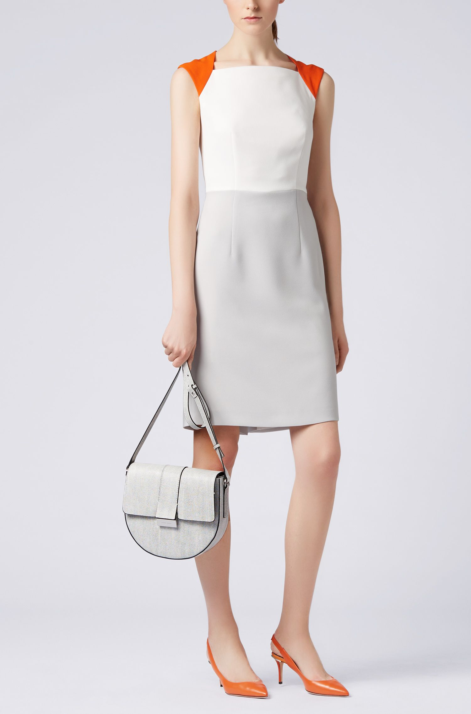 Italian-leather saddle bag with signature palladium closure, Open White